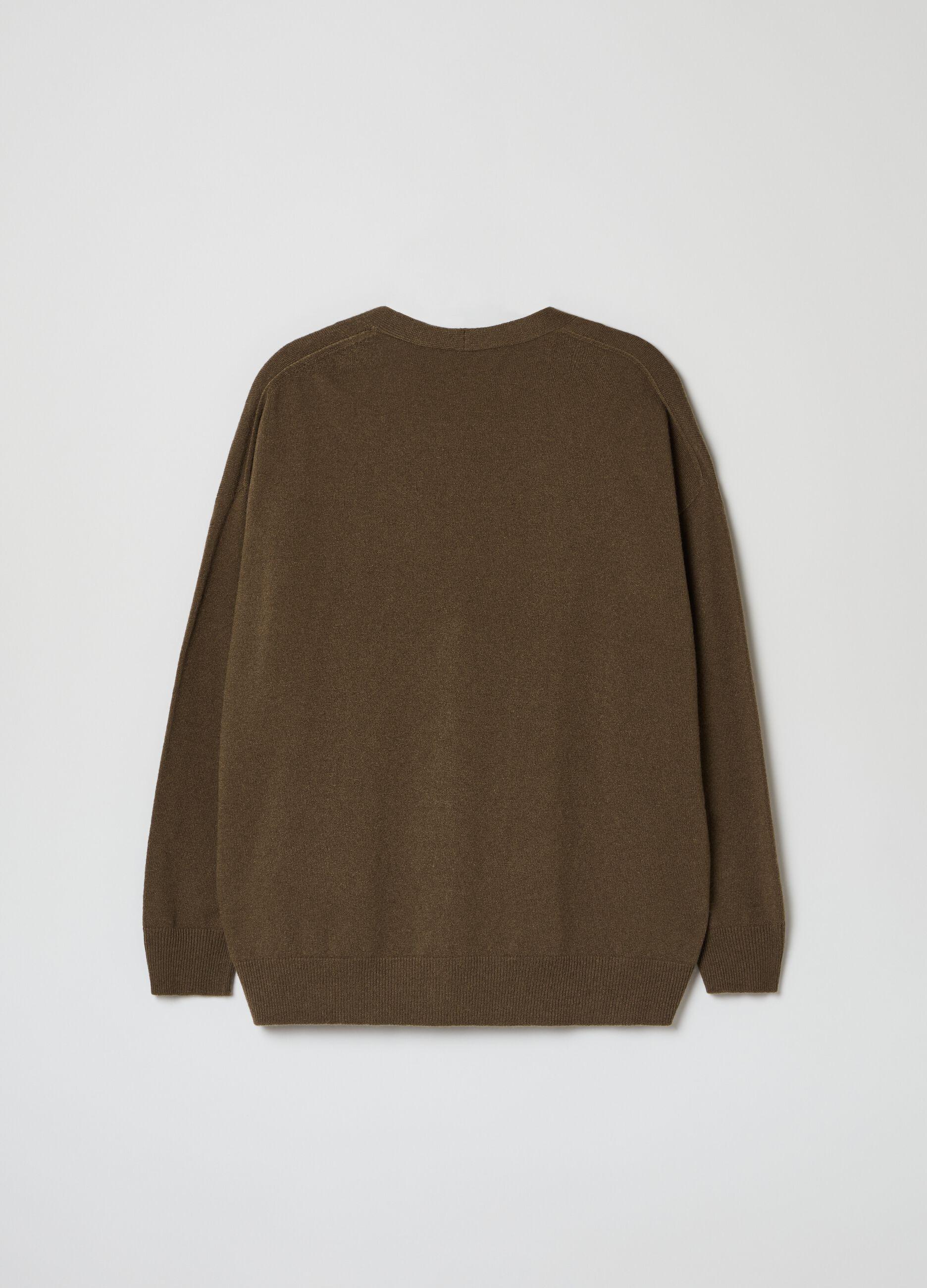 Cardigan over in lana merinos e cachemire Verde