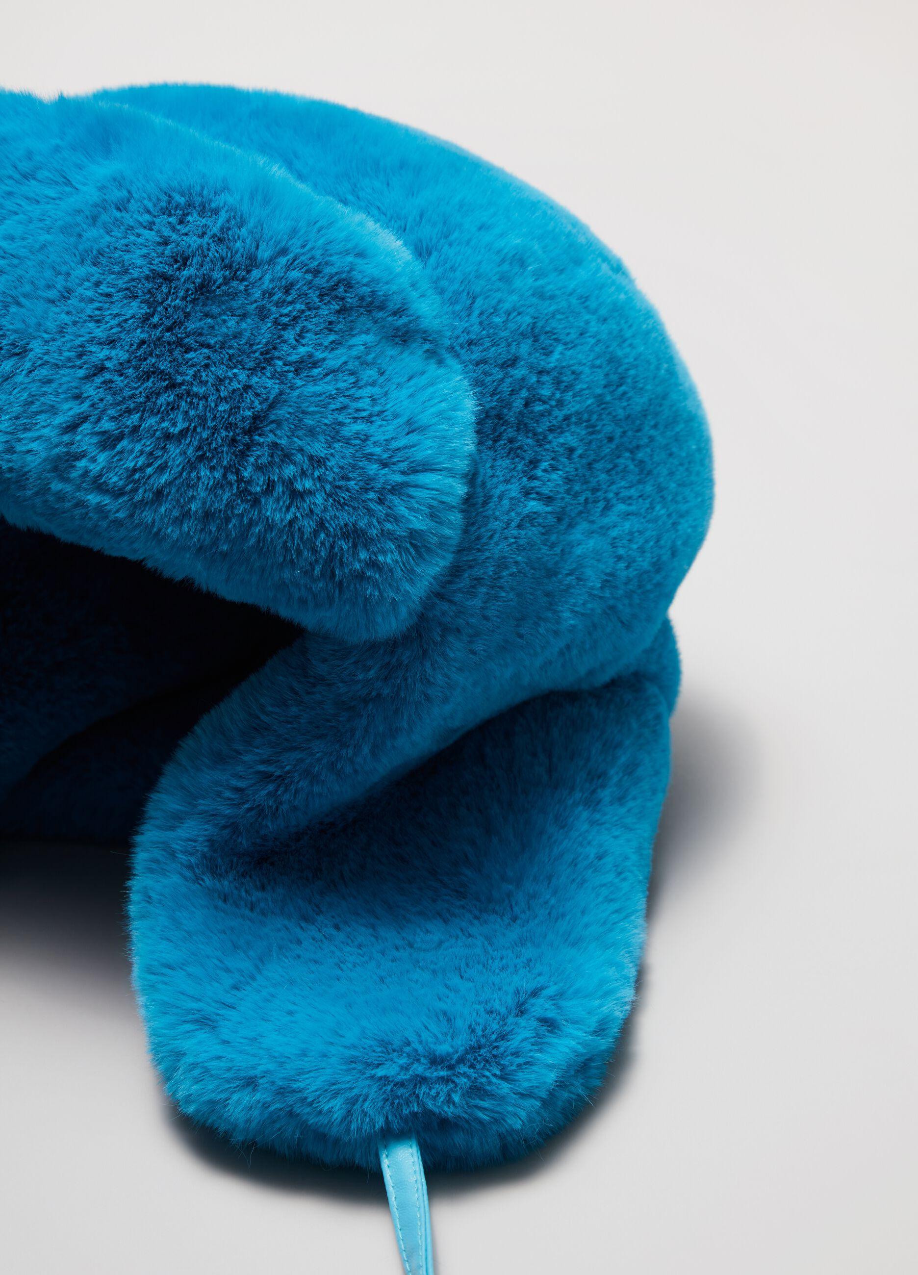 Cappello aviatore in eco pelliccia Blu