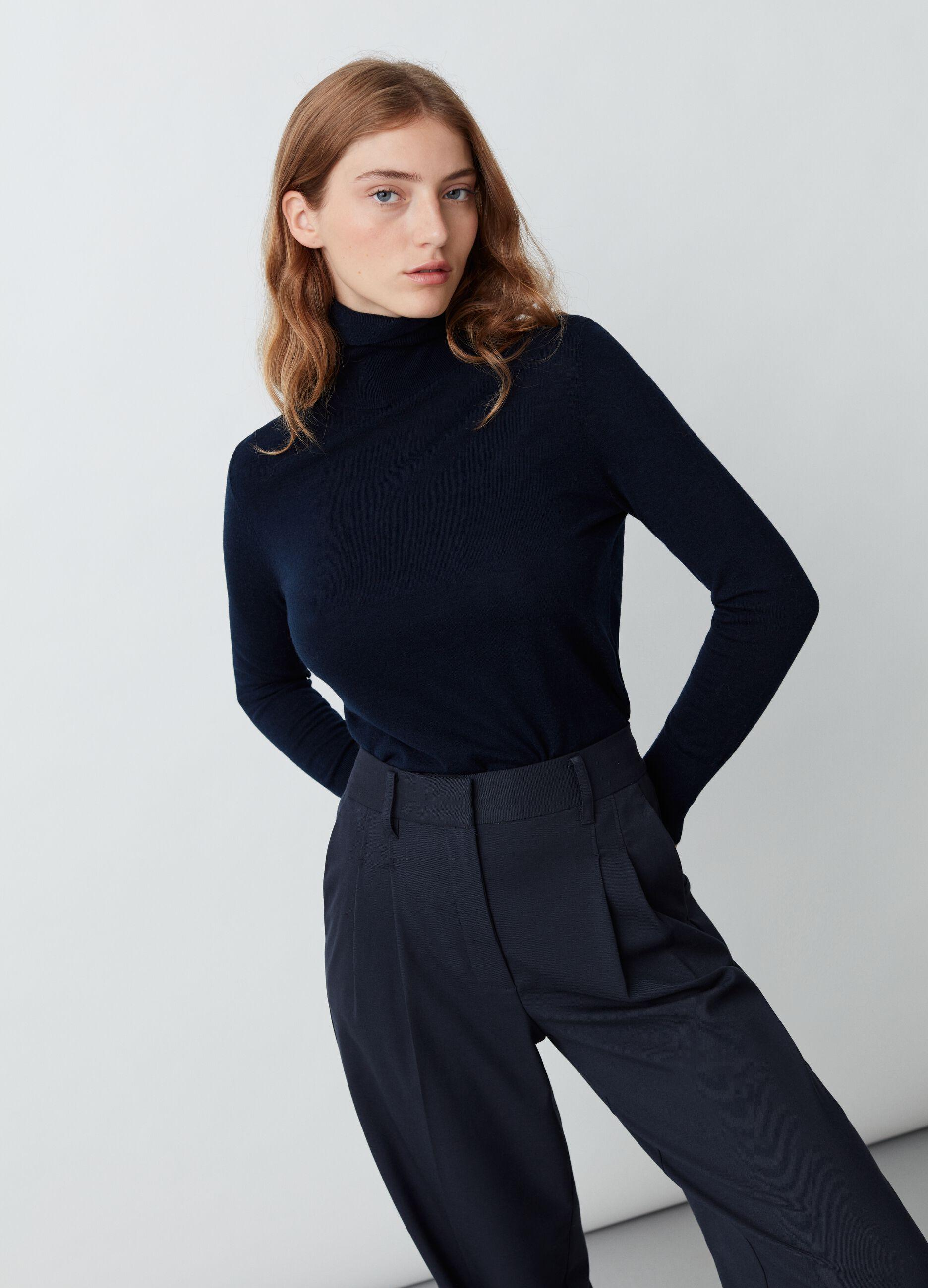 Dolcevita in lana e seta Blu