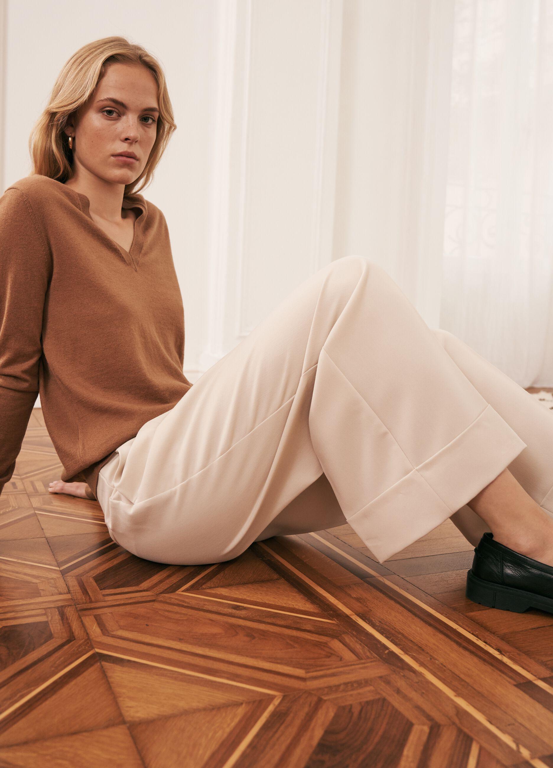 Pantaloni cropped a gamba larga Beige