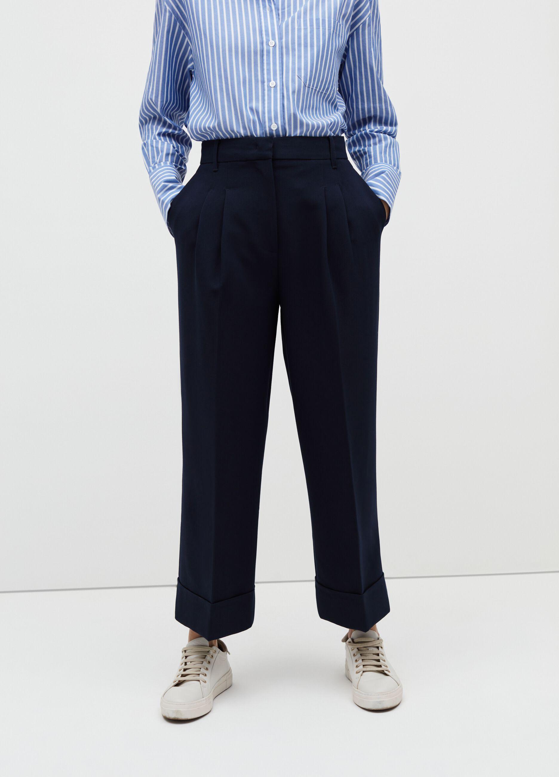 Pantaloni cropped a gamba larga Blu