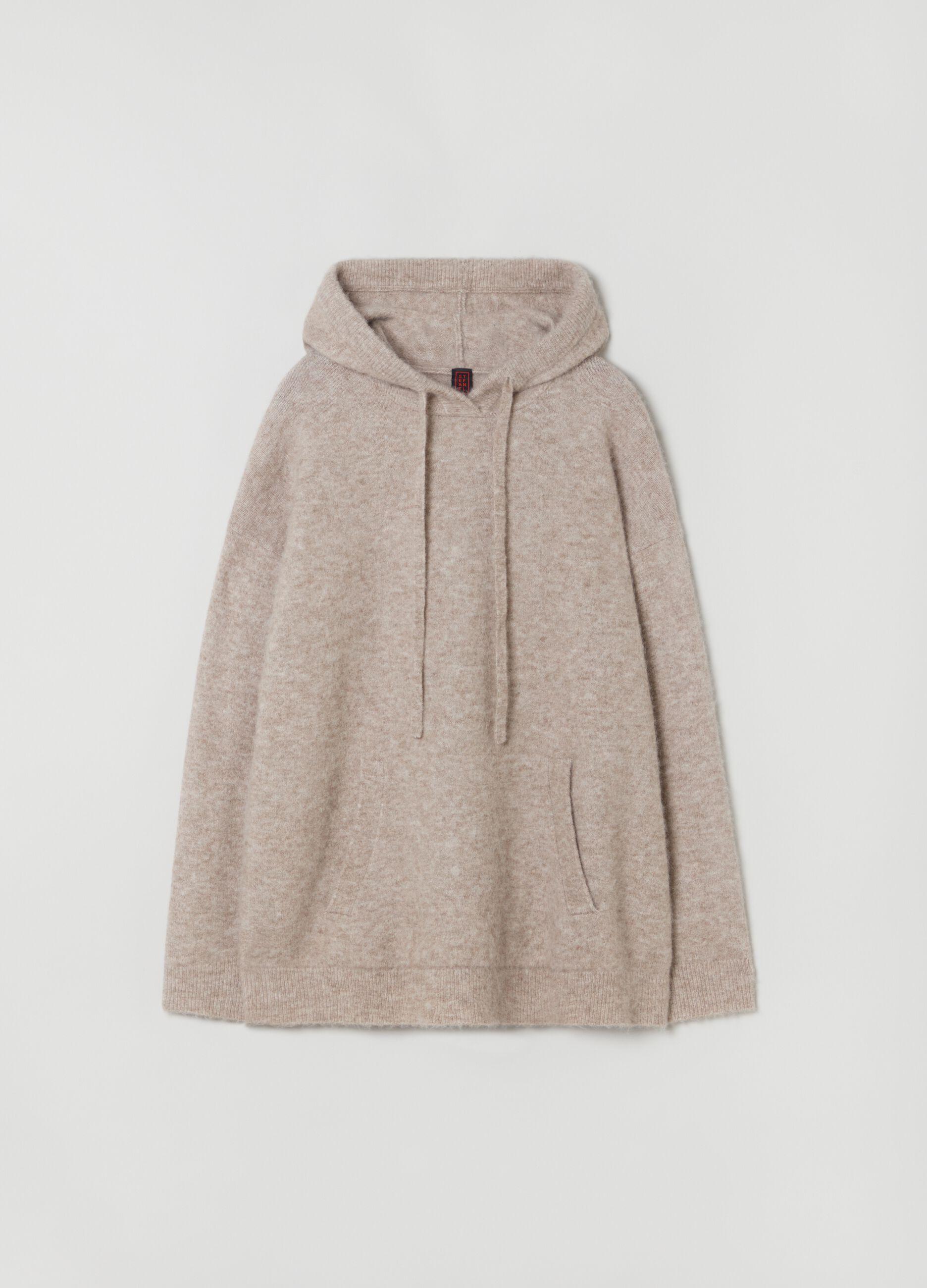 Top in maglia di lana merino e alpaca Beige