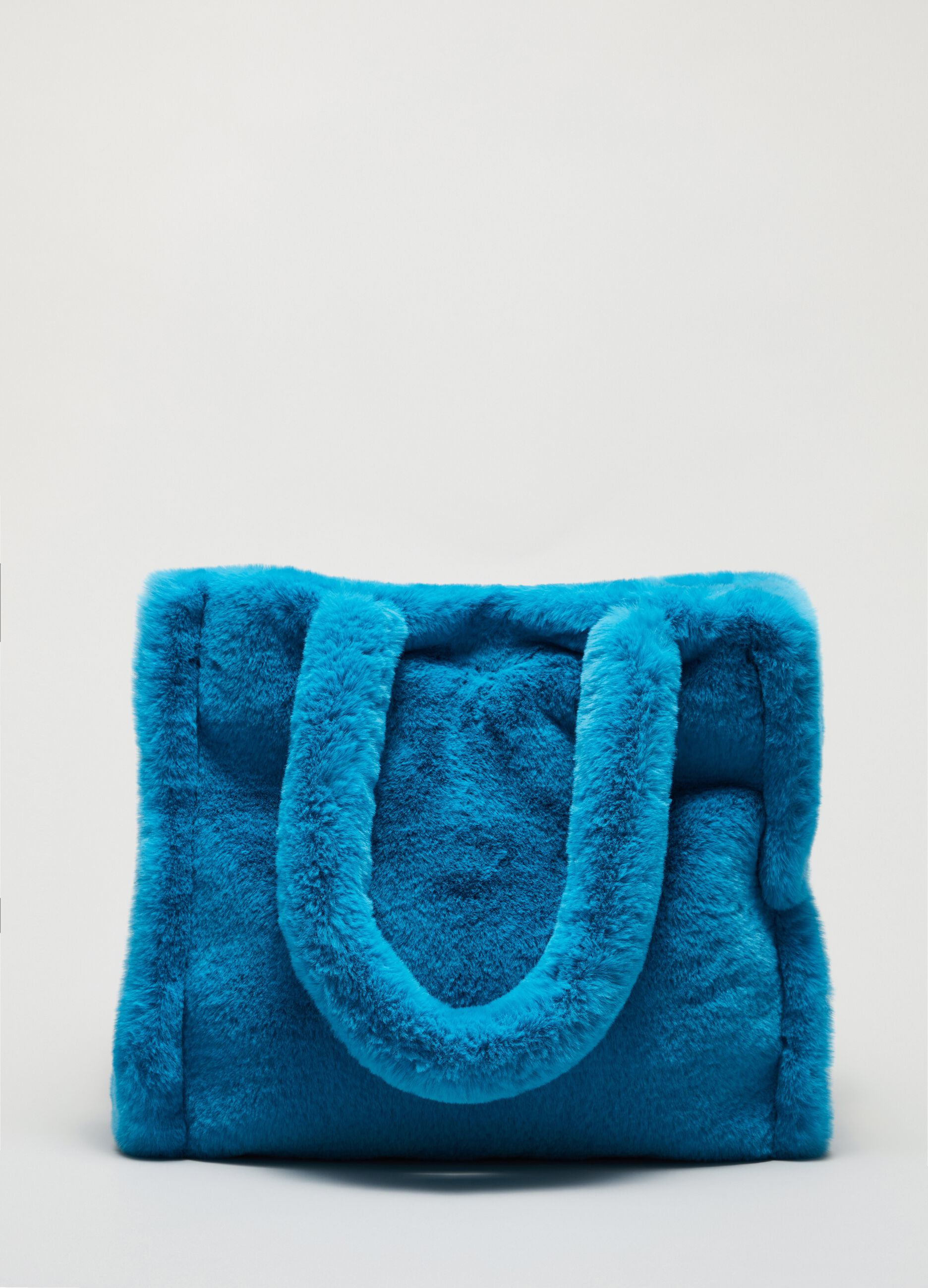 Square tote bag in faux fur Blue