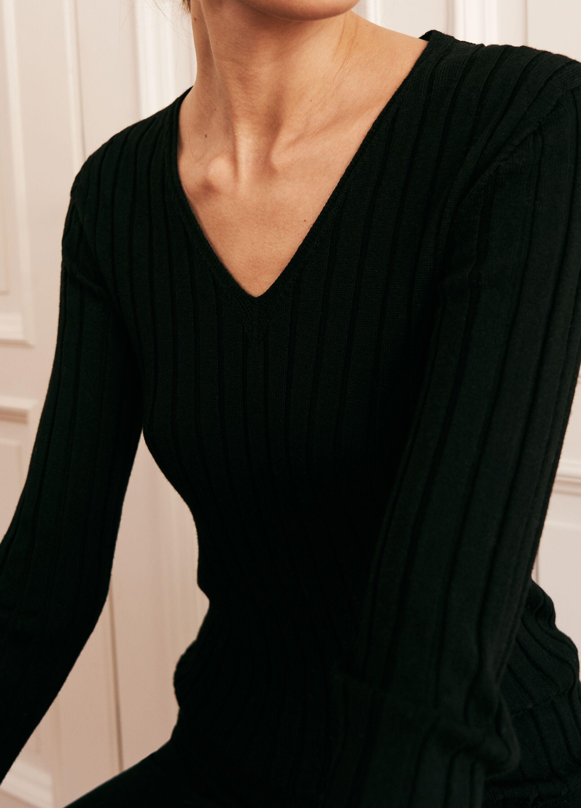 Pullover in lana merinos a coste piatte Nero