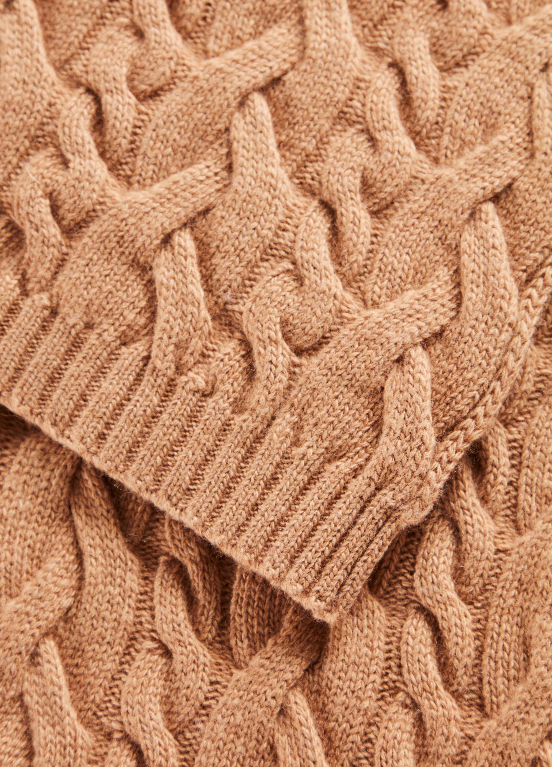 Sciarpa in lana e cachemire a trecce Marrone