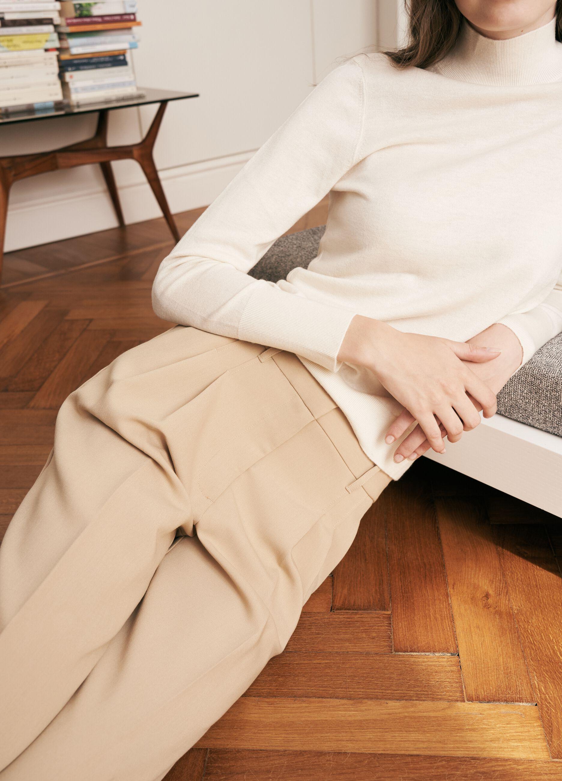 Pantalone palazzo a vita alta Beige