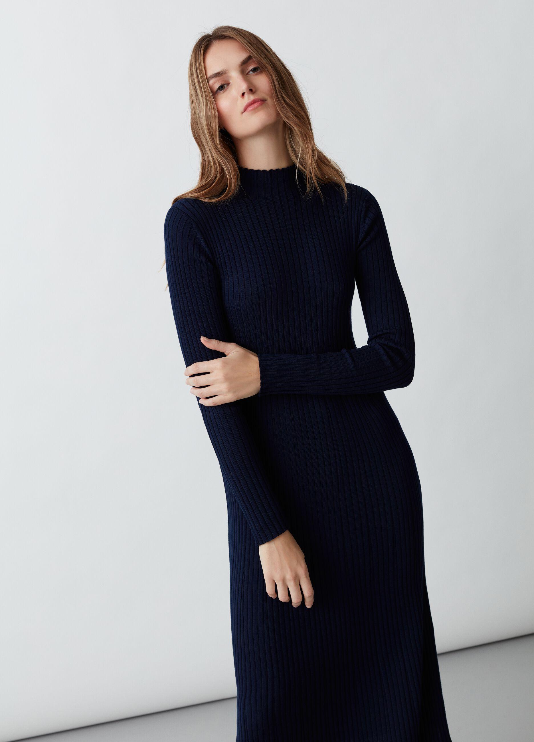 Abito lungo in lana merino a coste Blu