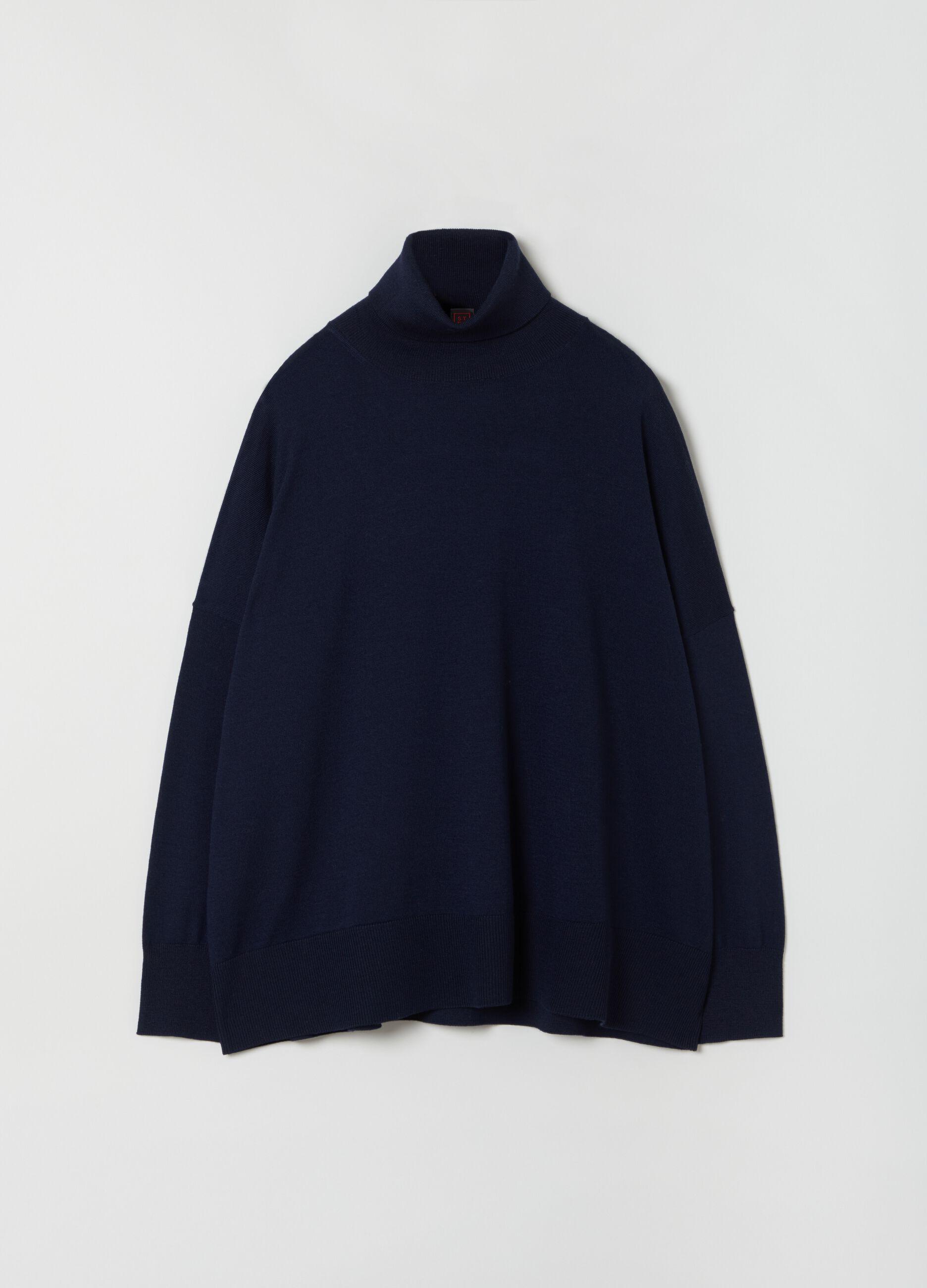 Dolcevita over in pura lana merino Blu