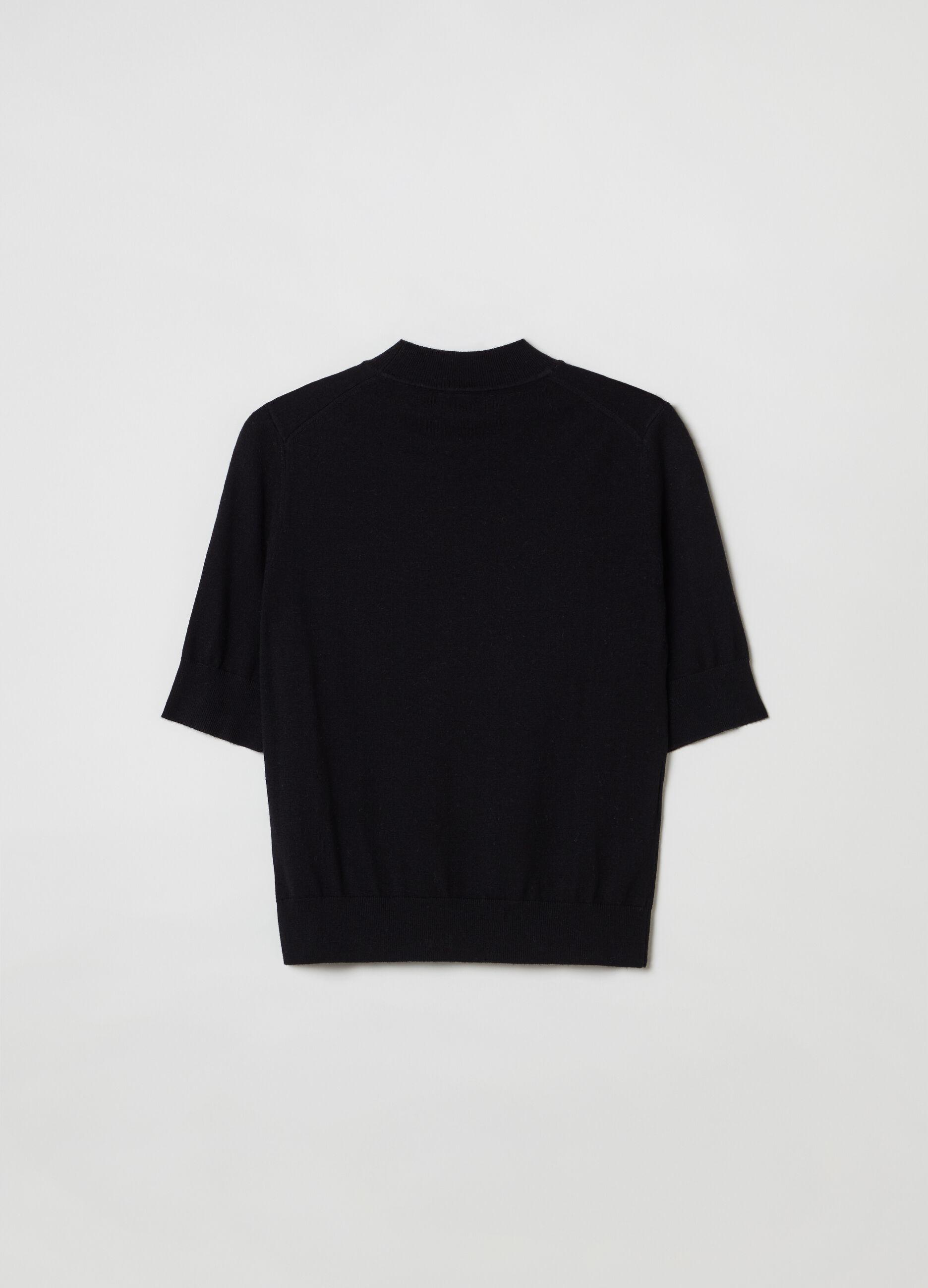 Pullover lana e seta a maniche corte Nero