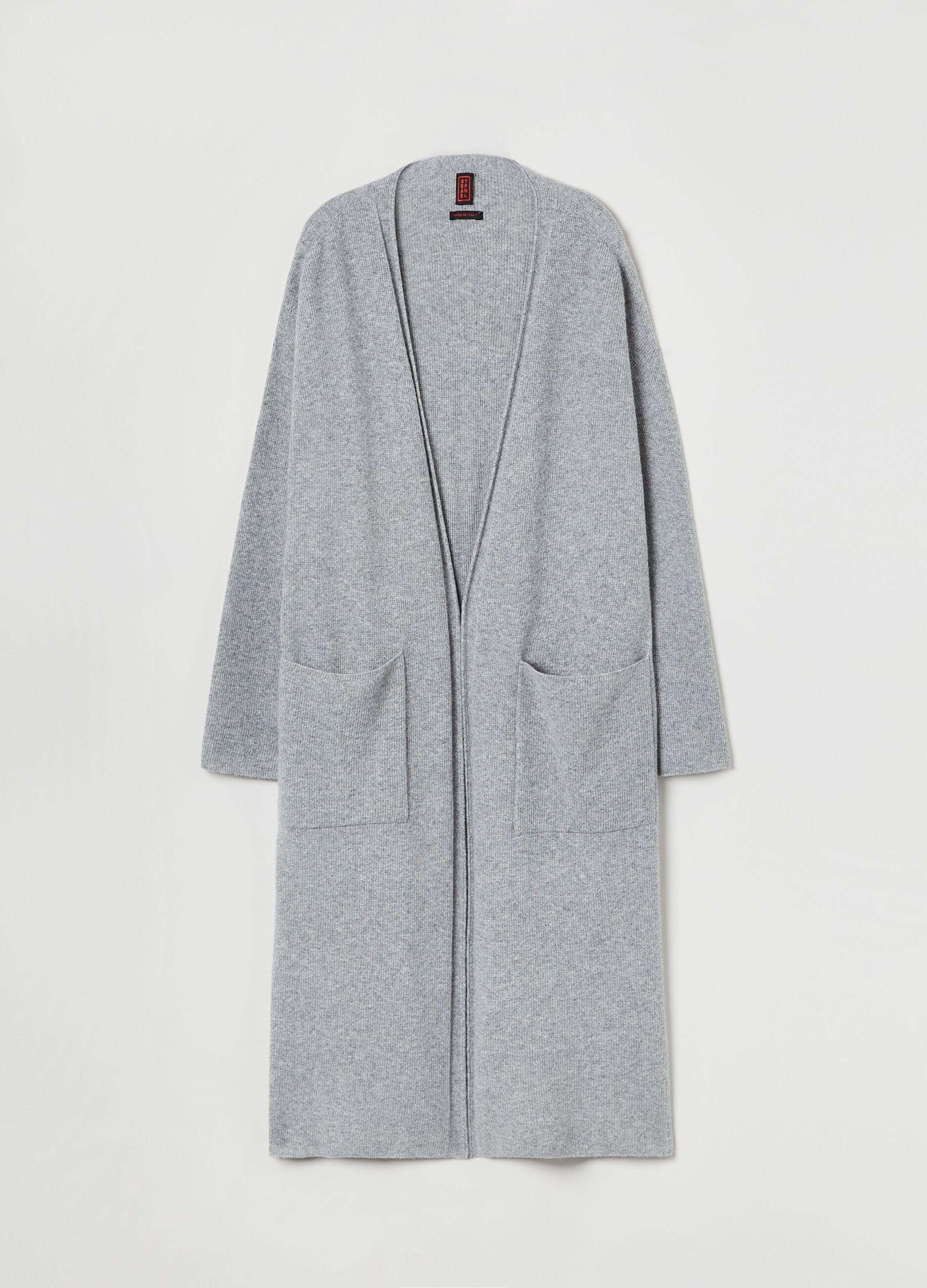 Cardigan extra lungo in pura lana vergine Grigio