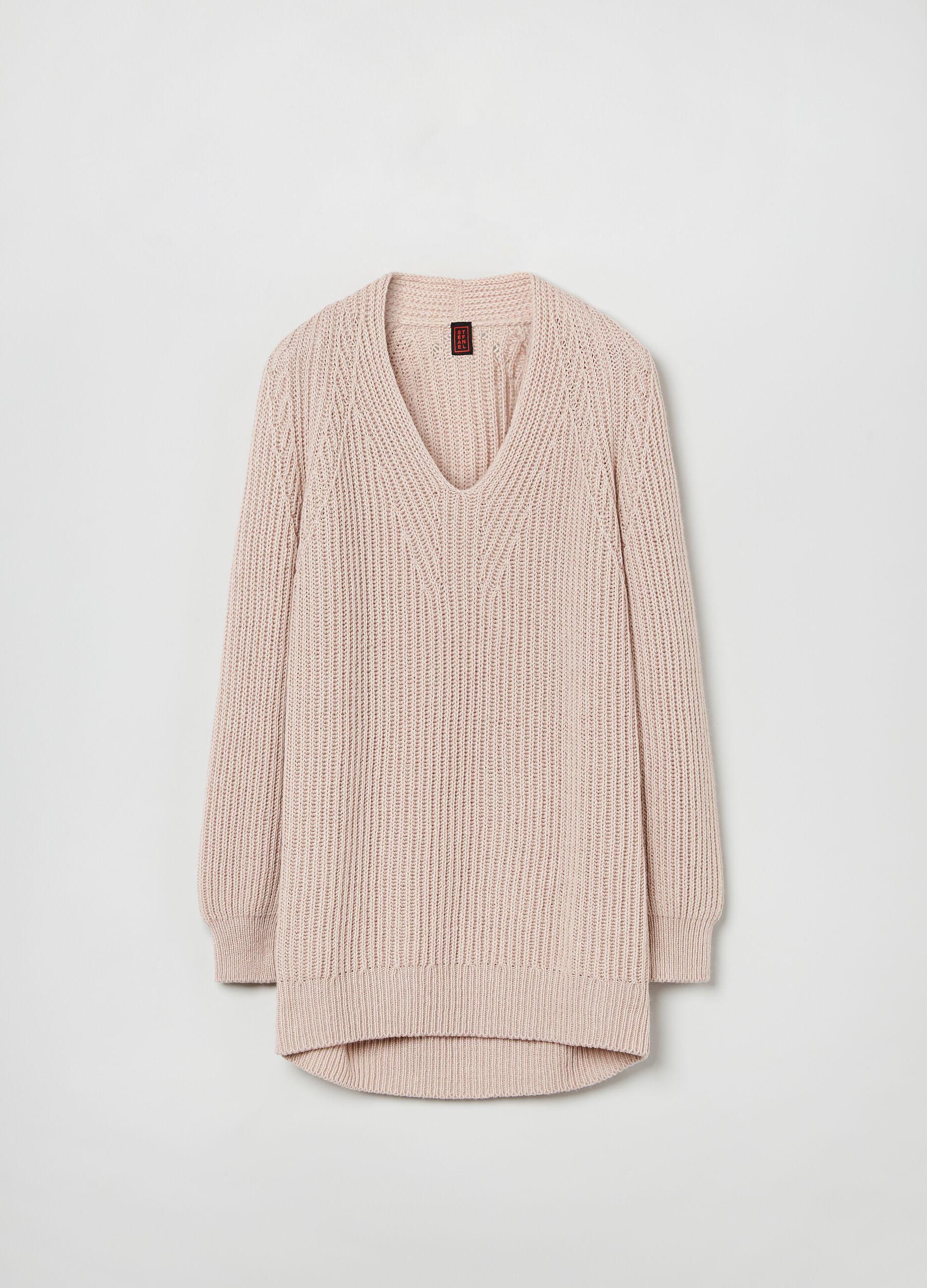 Pullover lana e cachemire scollo a V Rosa
