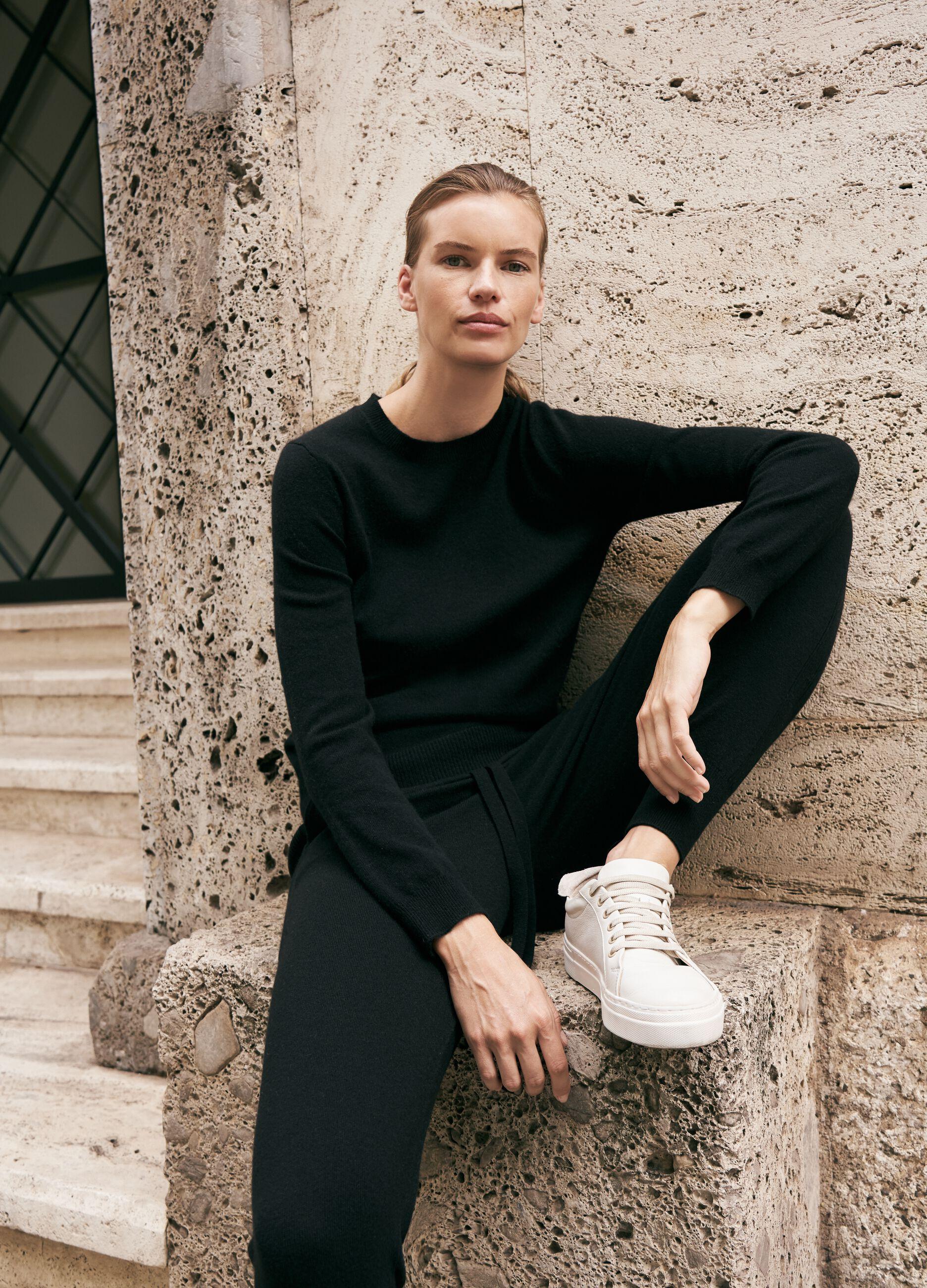 Joggers in maglia di lana e cachemire Nero