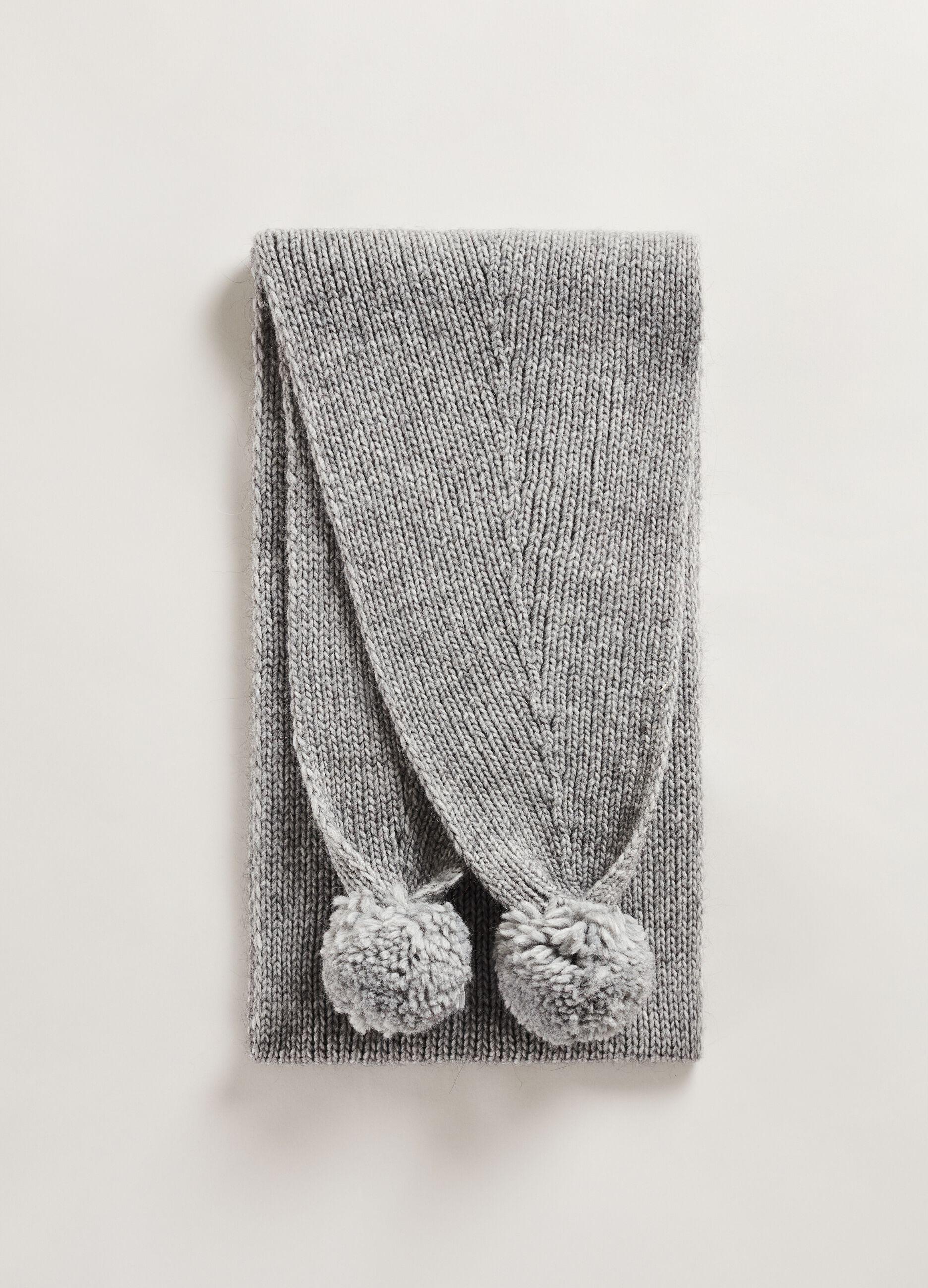 Maxi sciarpa con pon pon Grigio