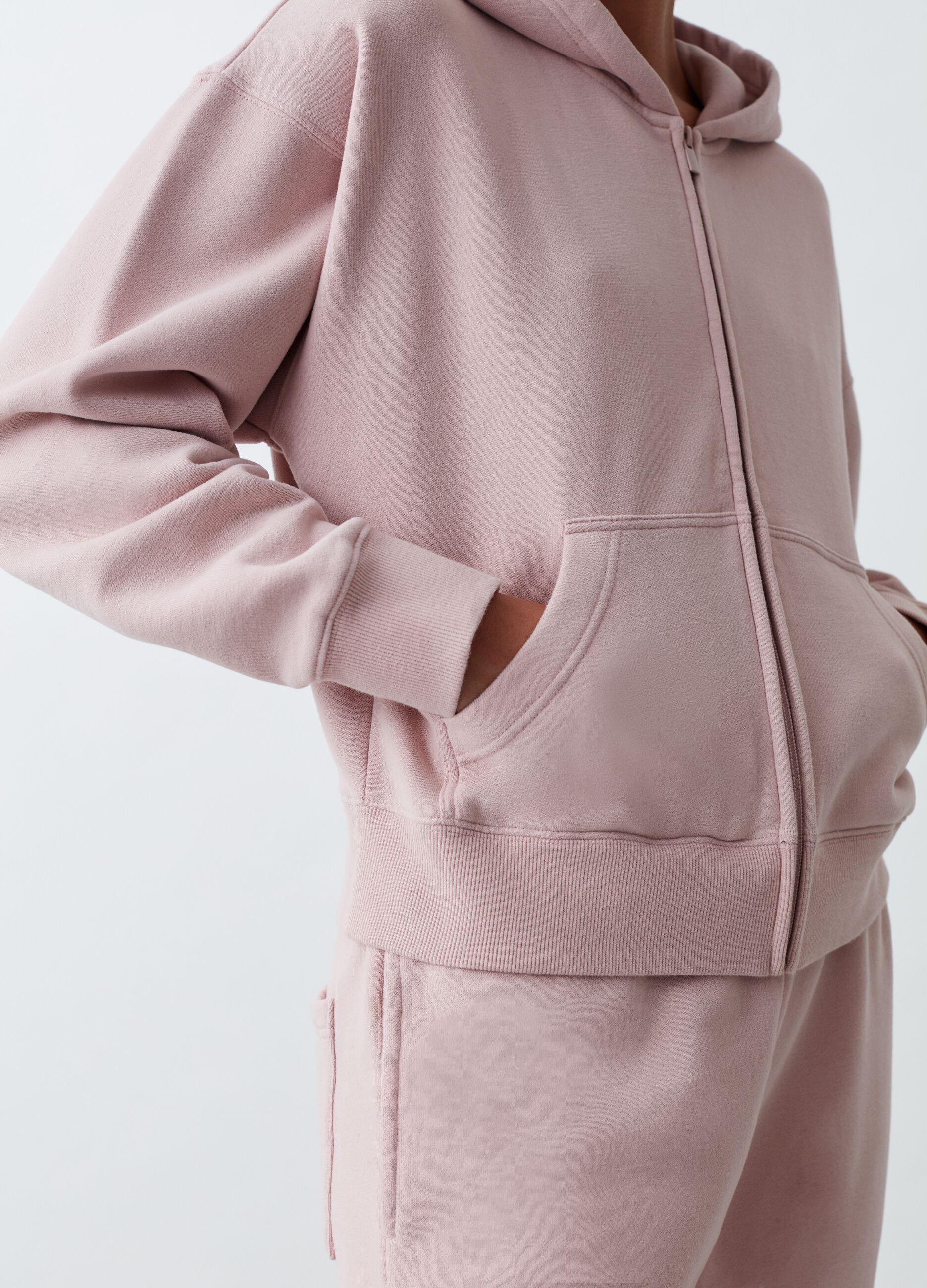 Full-zip con cappuccio tinta in capo Rosa