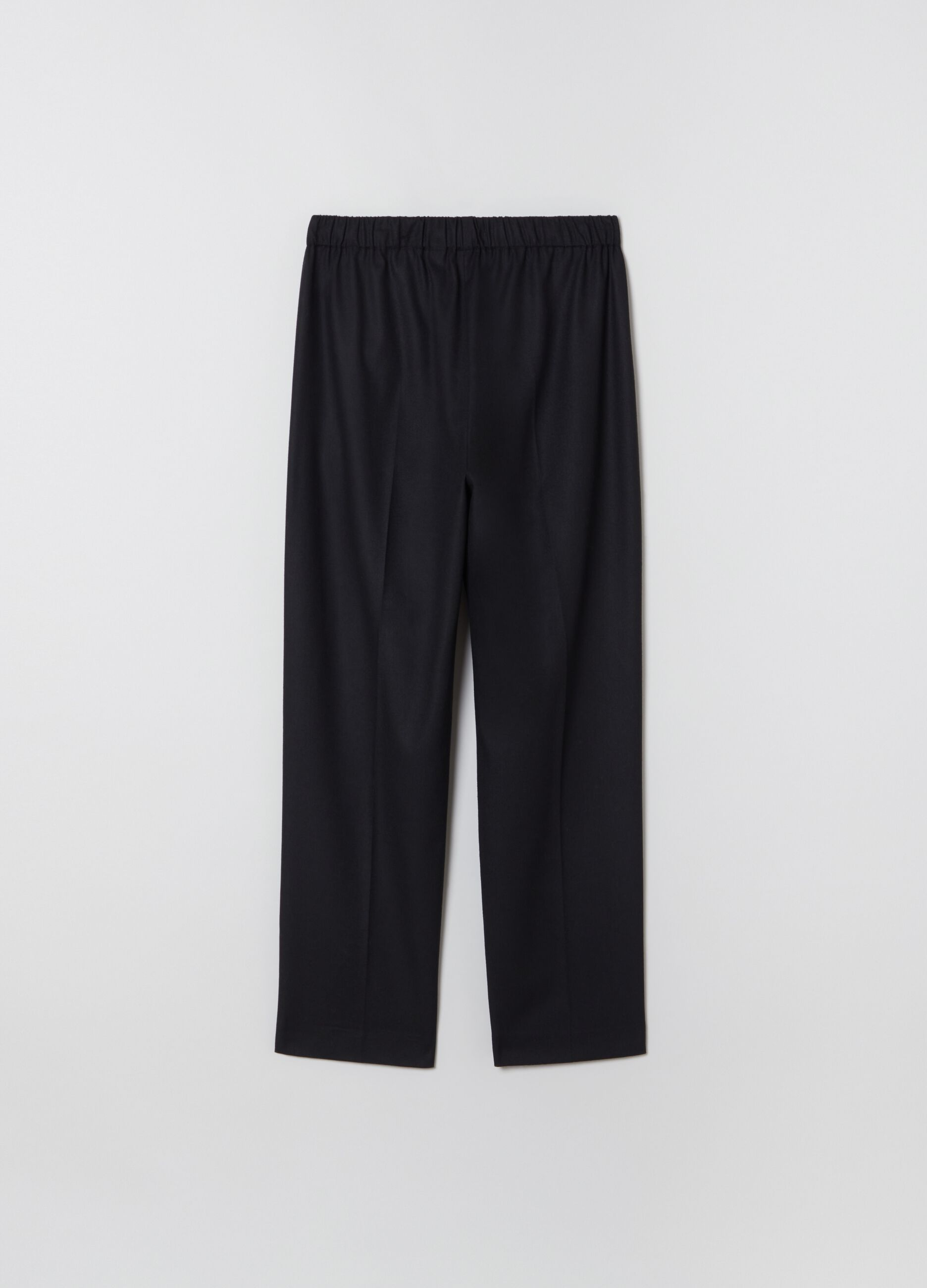 Pantalone straight fit con coulisse Nero
