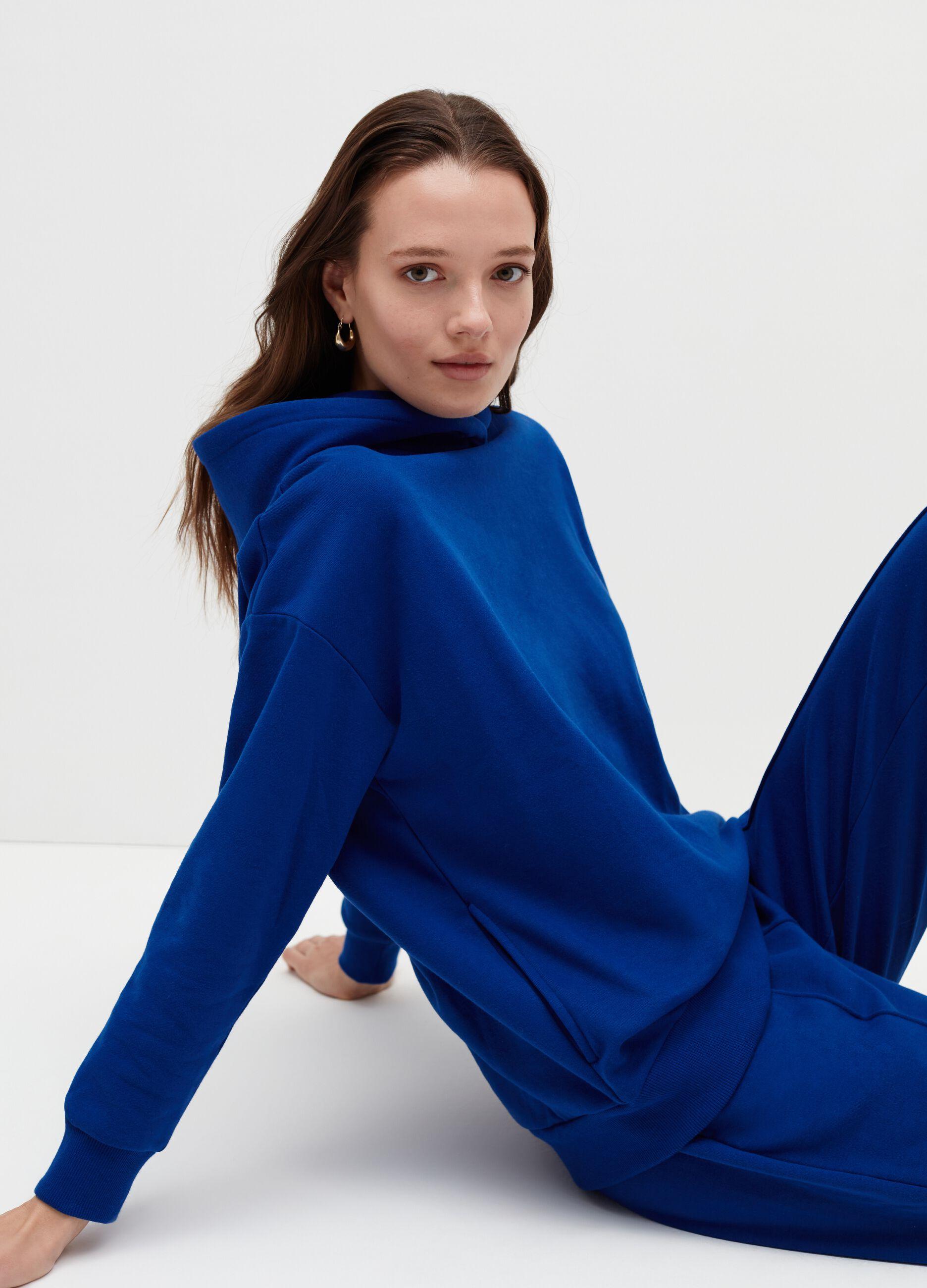 Felpa over con cappuccio bold color Blu