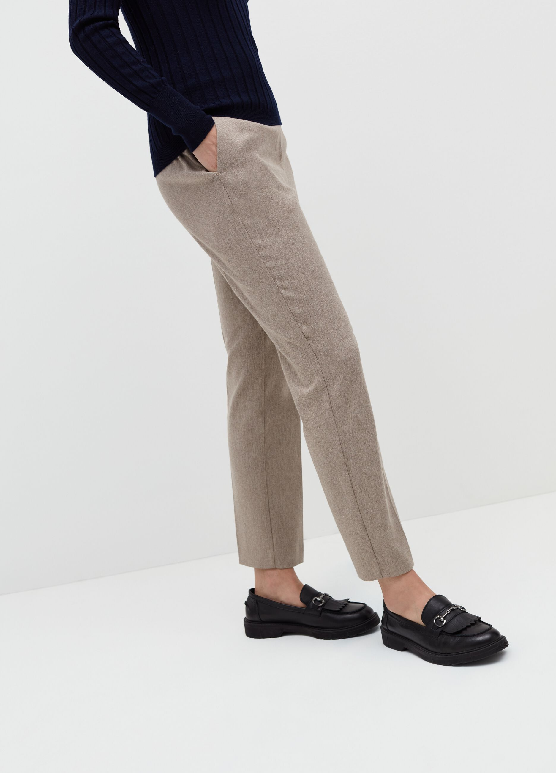 Pantalone slim fit mélange Beige