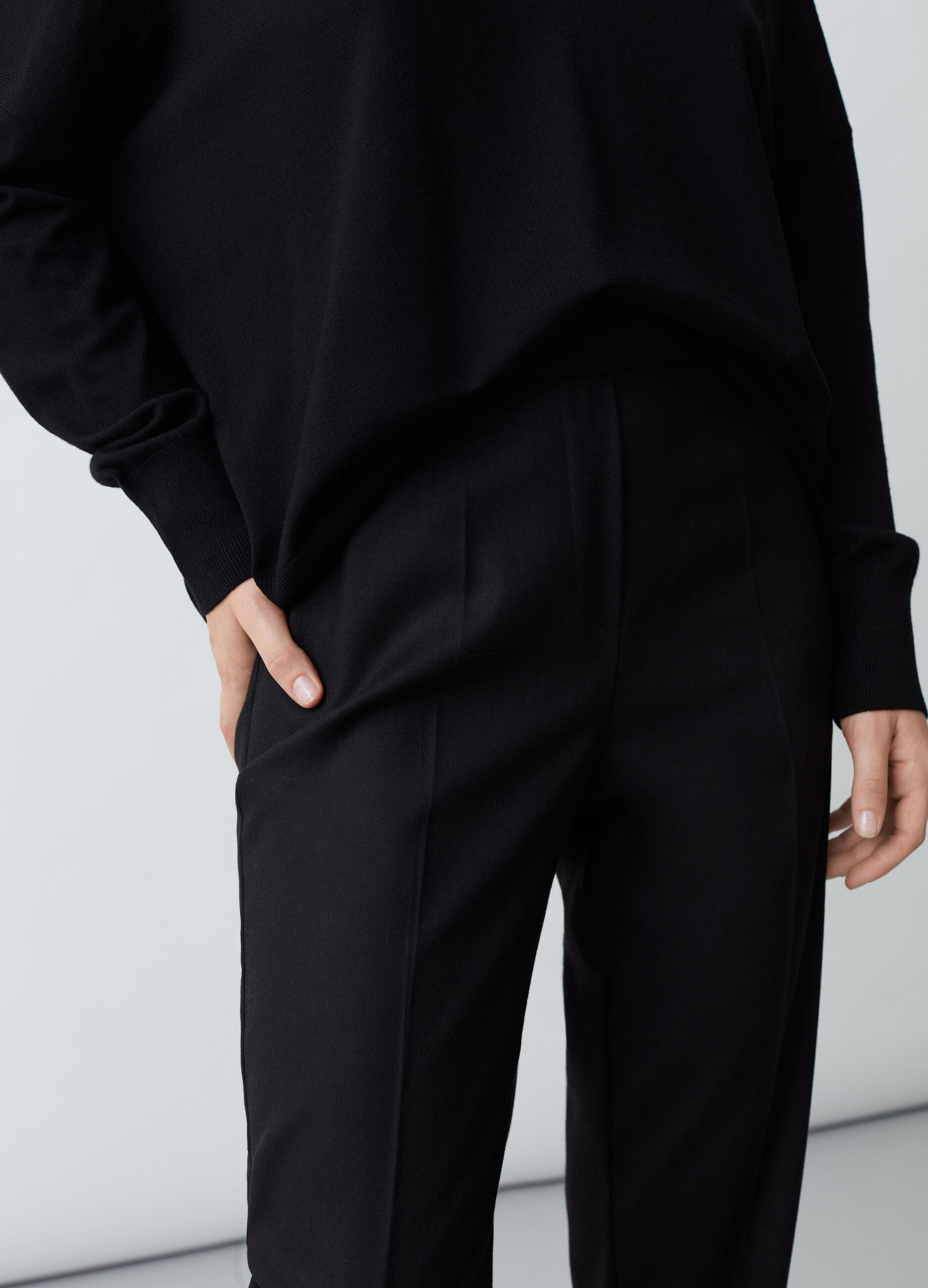 Pantalone slim fit tinta unita Nero
