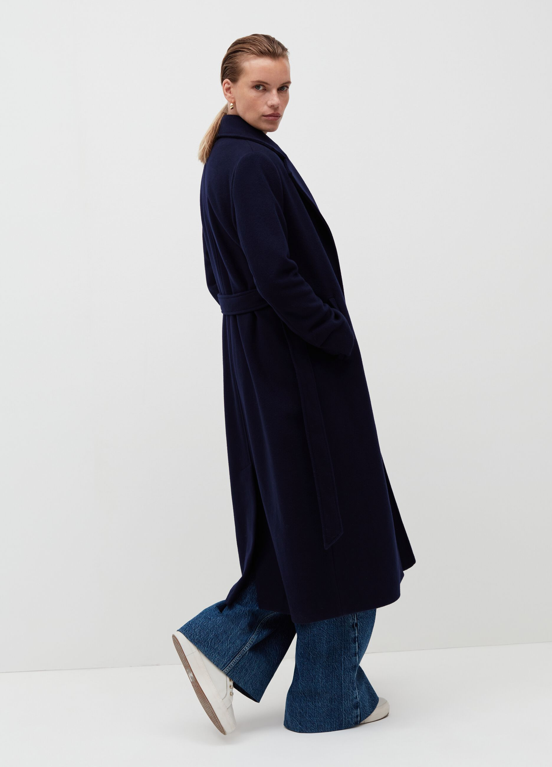 Cappotto lungo a vestaglia Blu