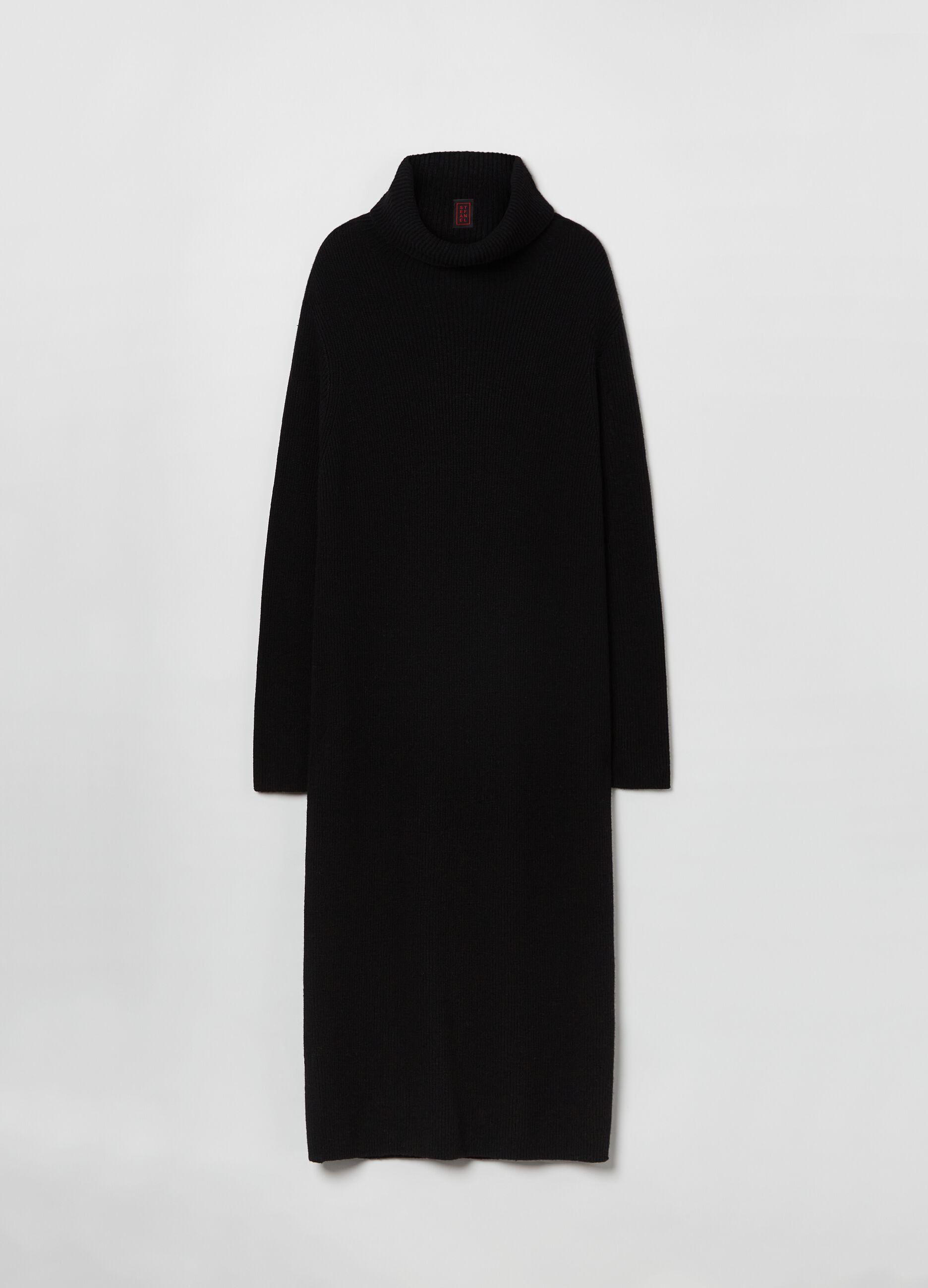 Abito lungo in maglia di lana e cachemire Nero