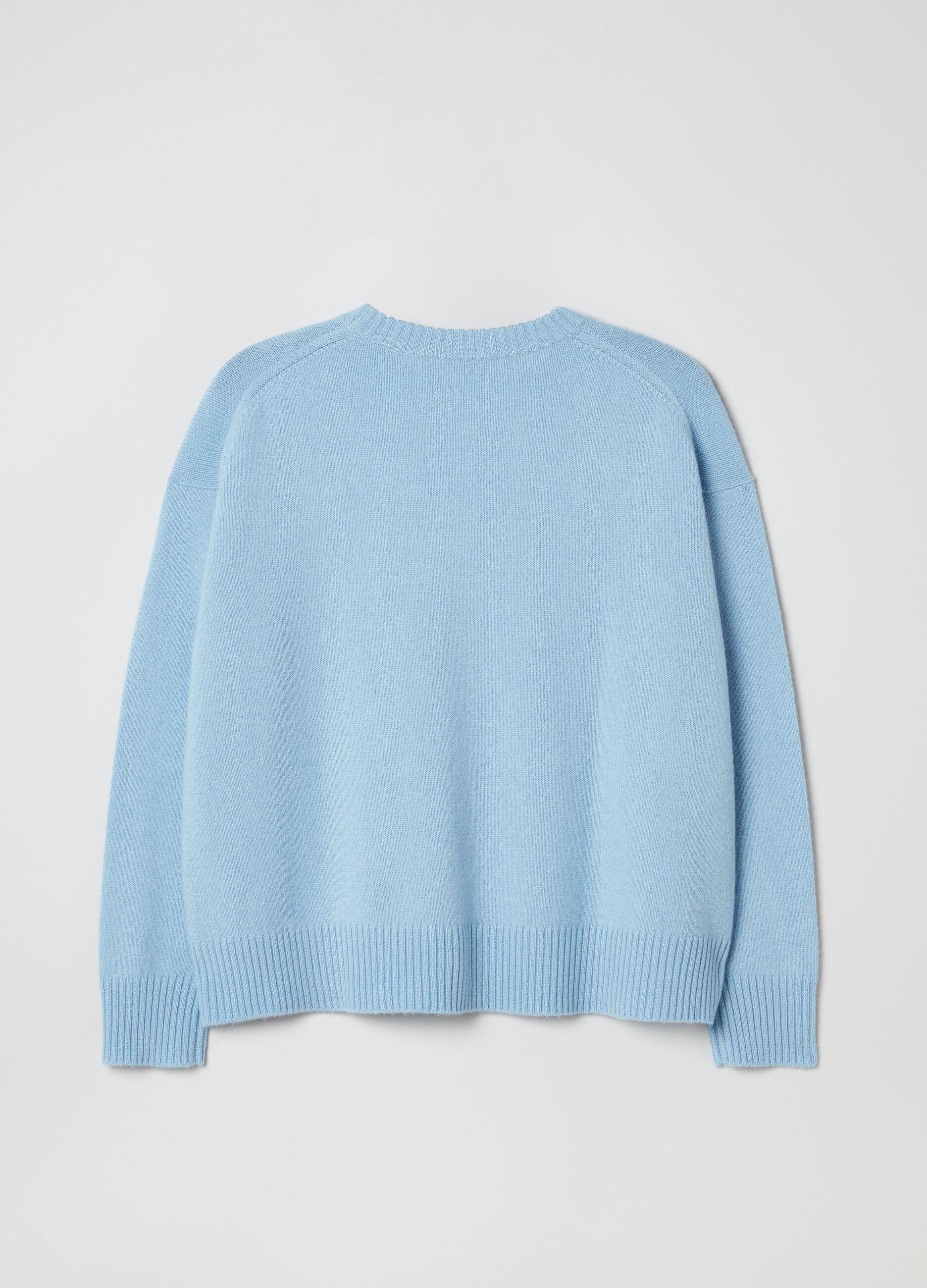 Pullover girocollo oversize in cachemire Azzurro