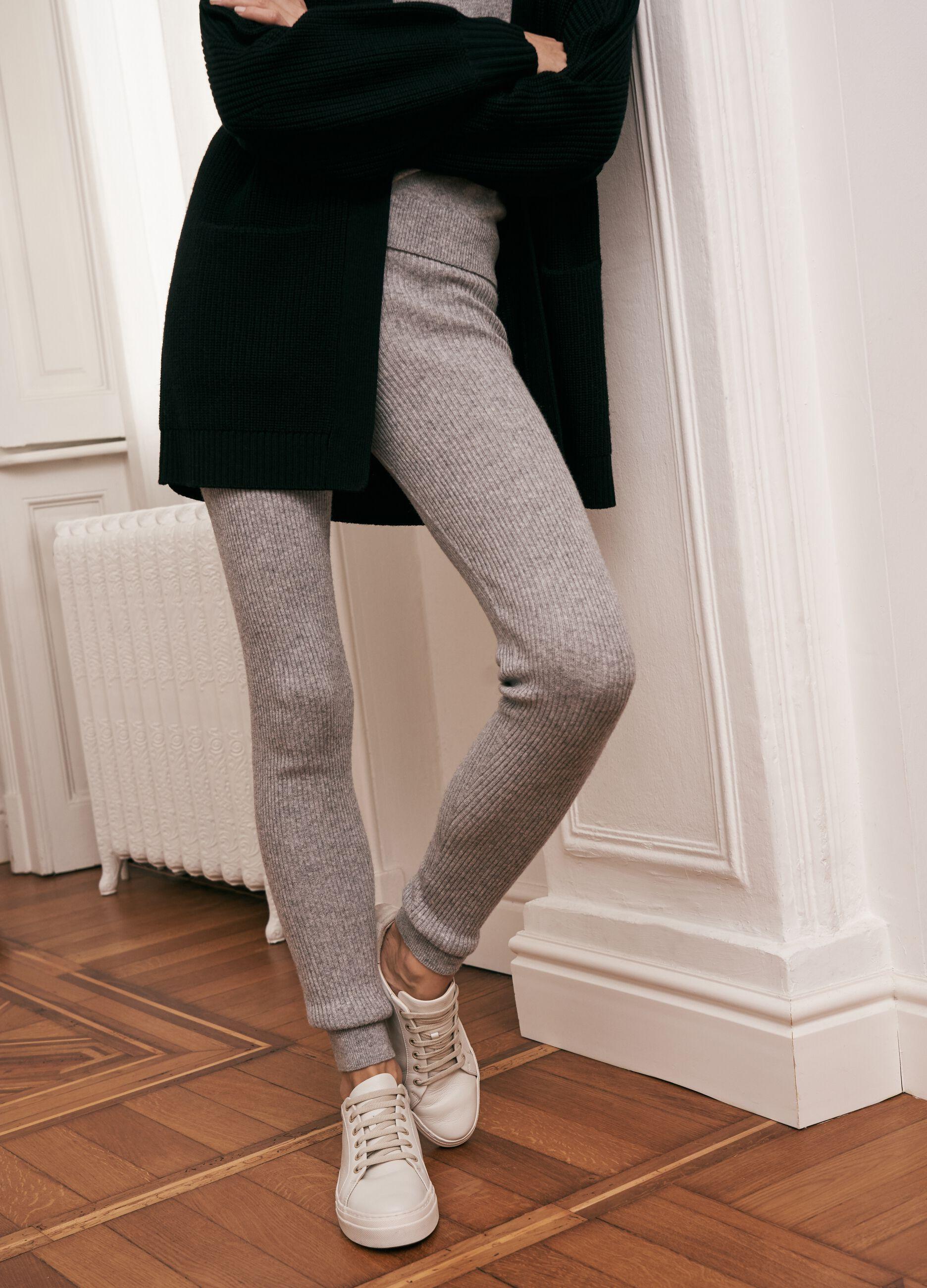 Leggings in maglia a costine Grigio