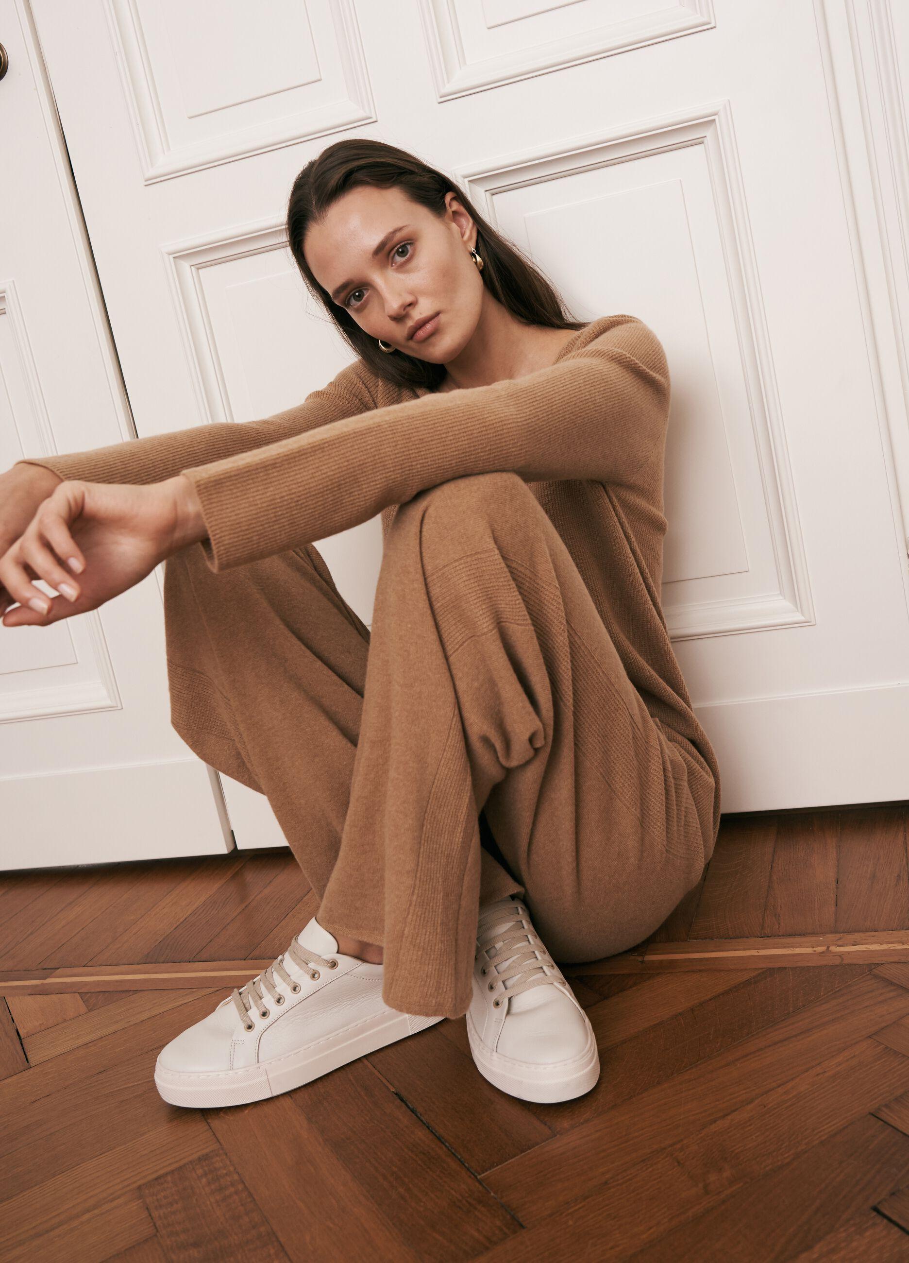 Pantalone in maglia di pura lana seamless Marrone