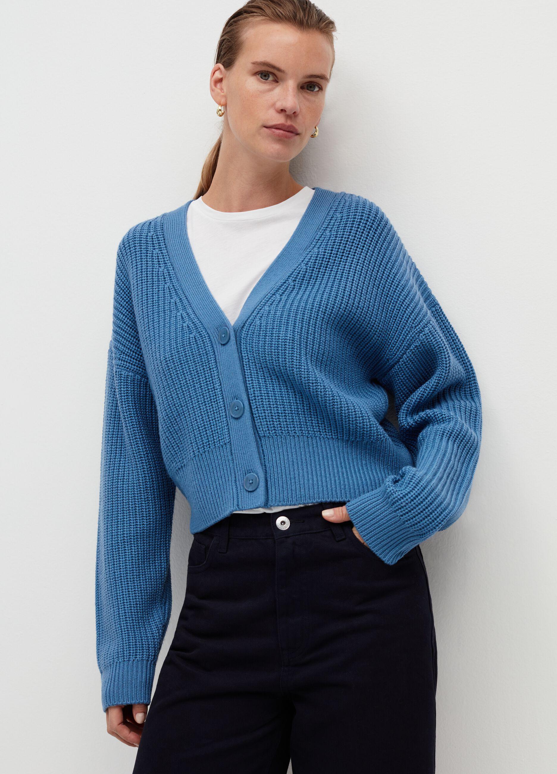 Cardigan in pura lana a coste Blu