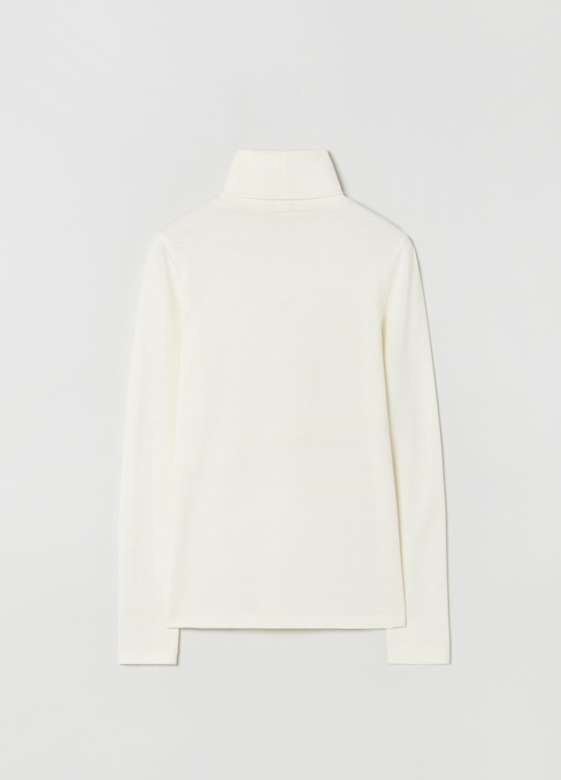T-shirt a collo alto in pura lana Bianco