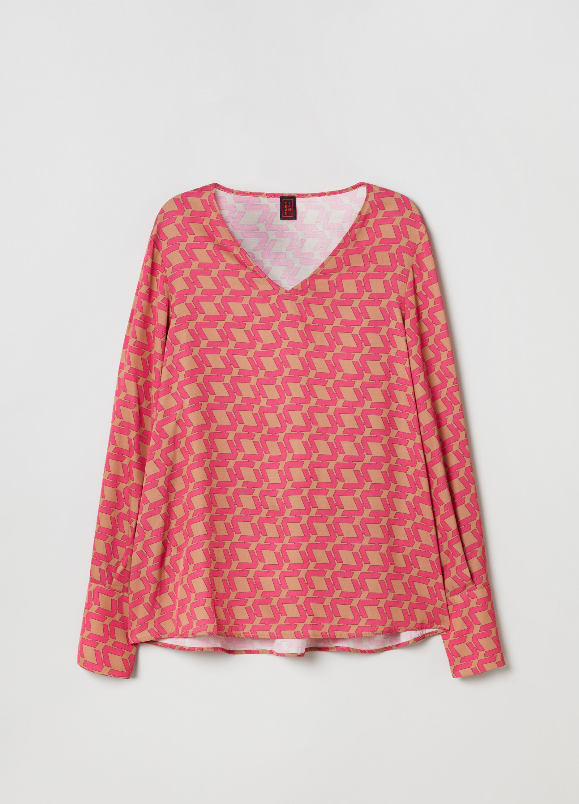 Viscose blouse with geometric print Multicolor