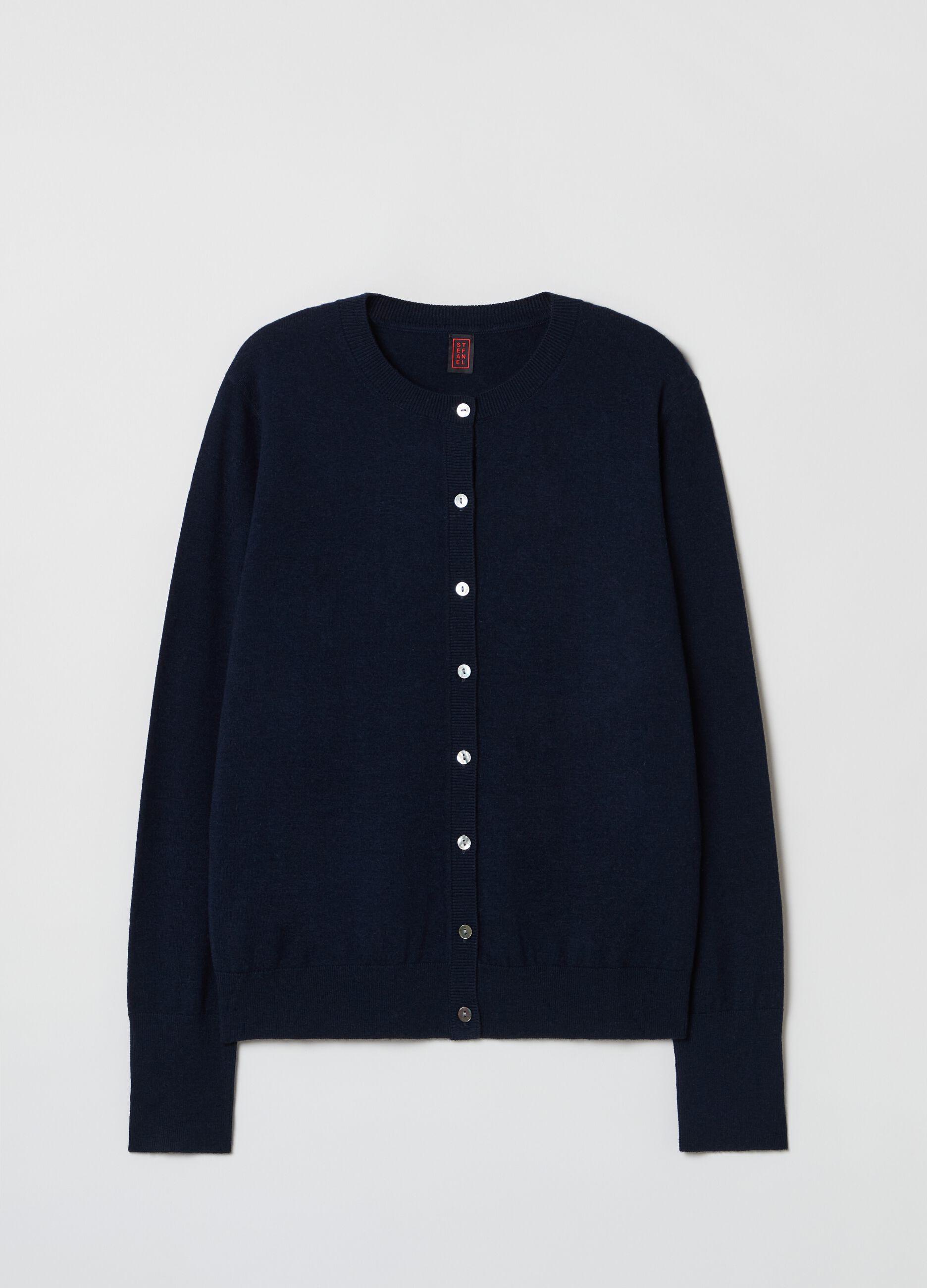 Cardigan con bottoni in lana e seta Blu