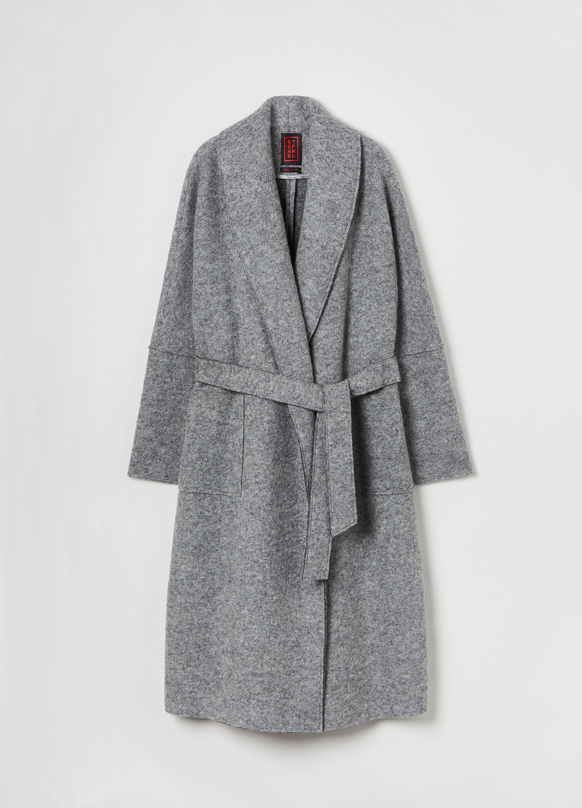 Cappotto a kimono con cintura Grigio