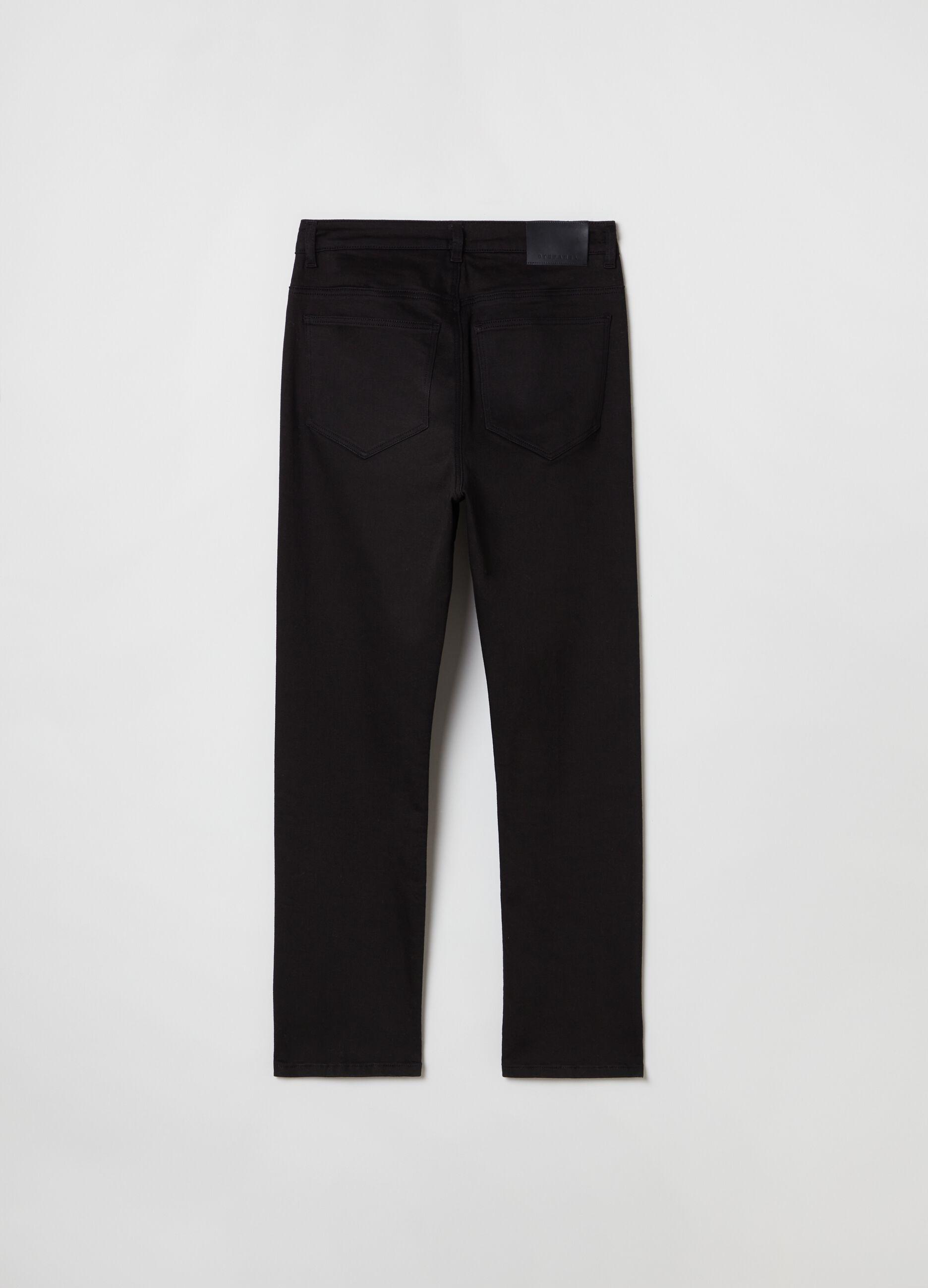 Pantalone in twill di cotone stretch Nero