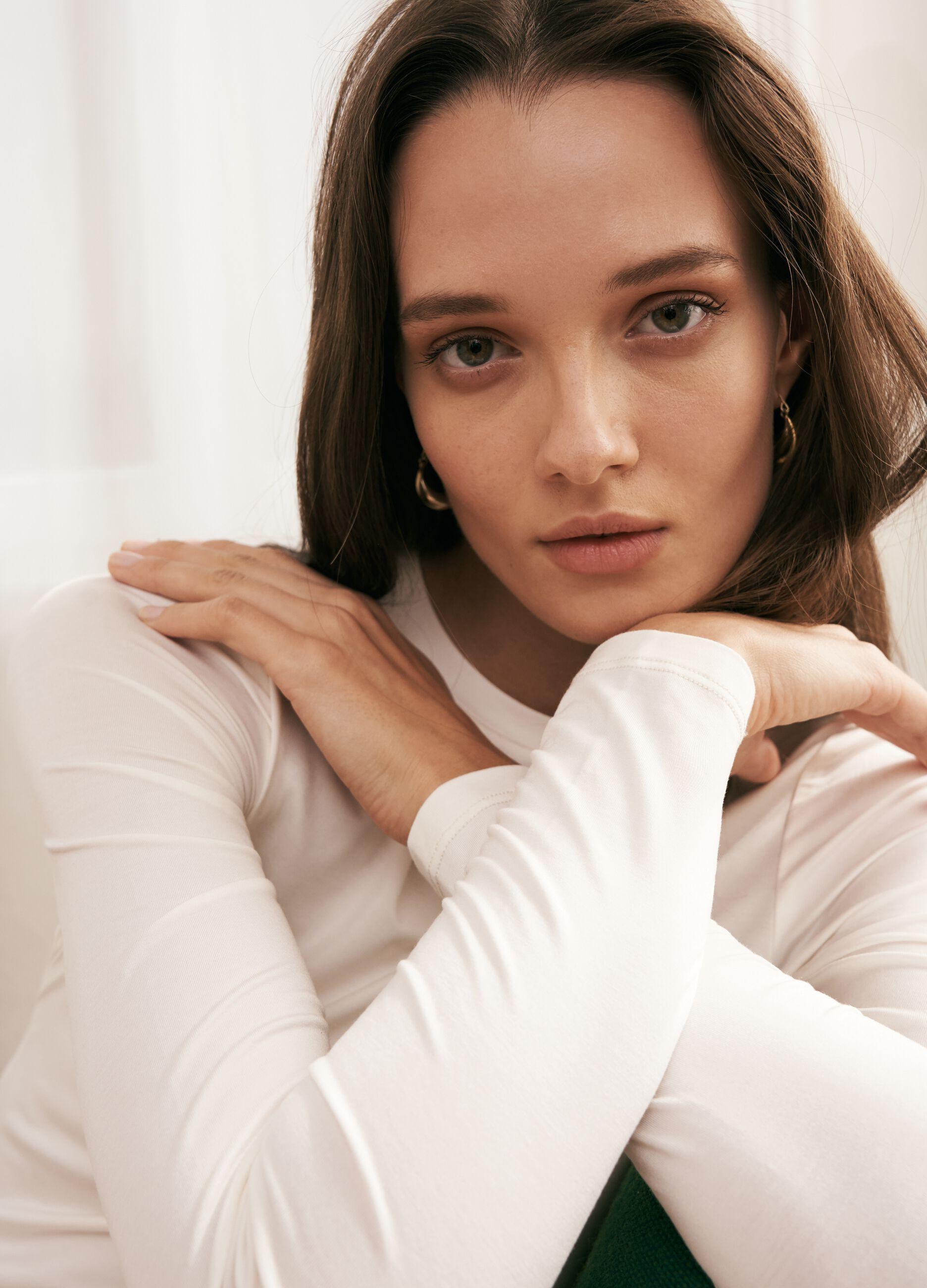 T-shirt girocollo in modal stretch Bianco
