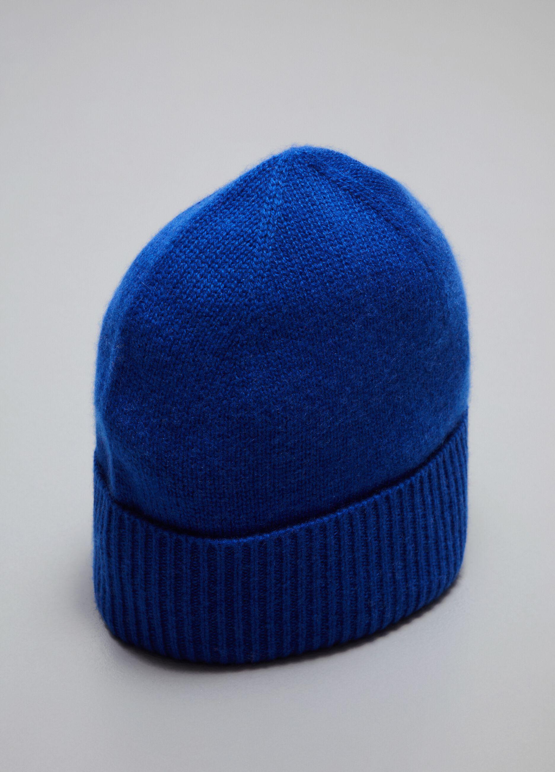 Berretto in cachemire con risvolto Blu