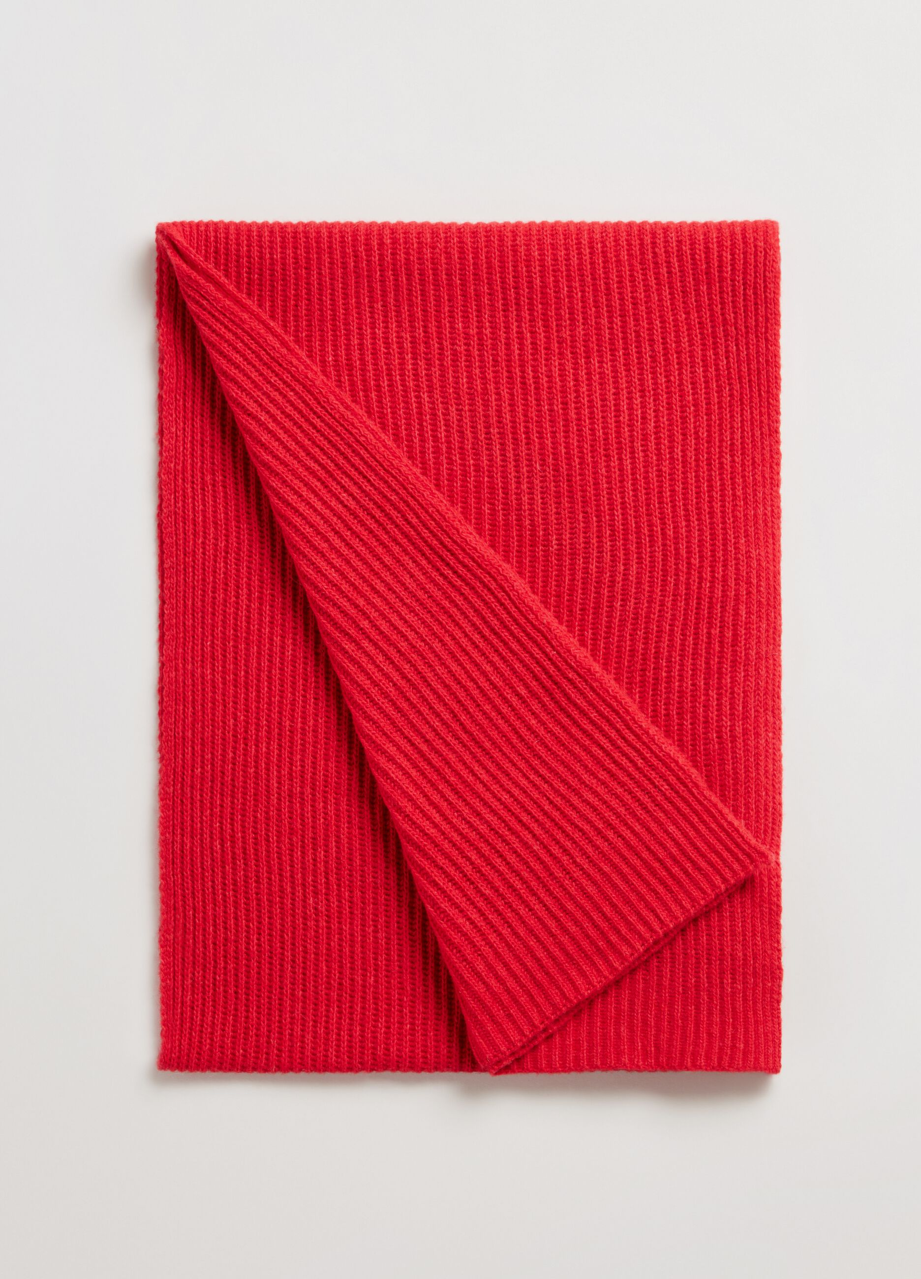 Sciarpa in lana e cachemire a coste Rosso