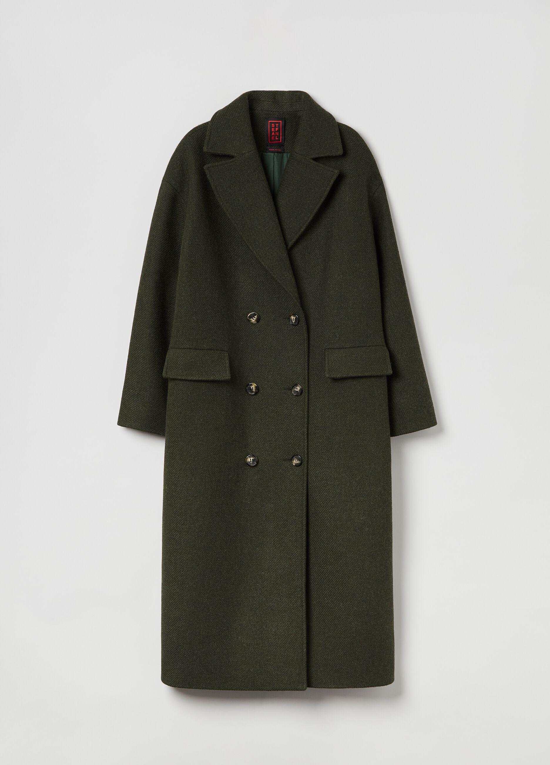 Cappotto lungo doppiopetto Verde