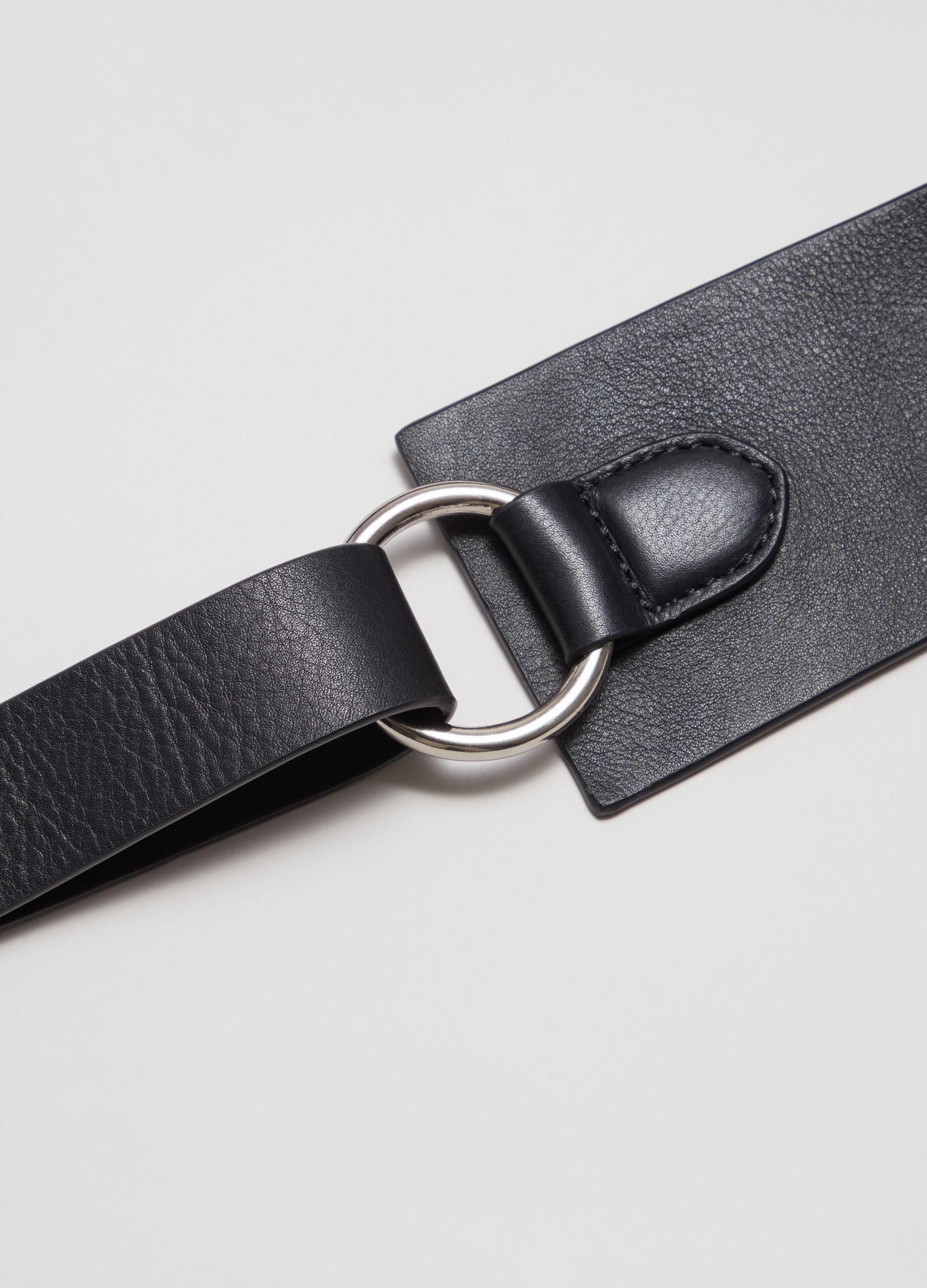 Cintura alta in pelle Nero