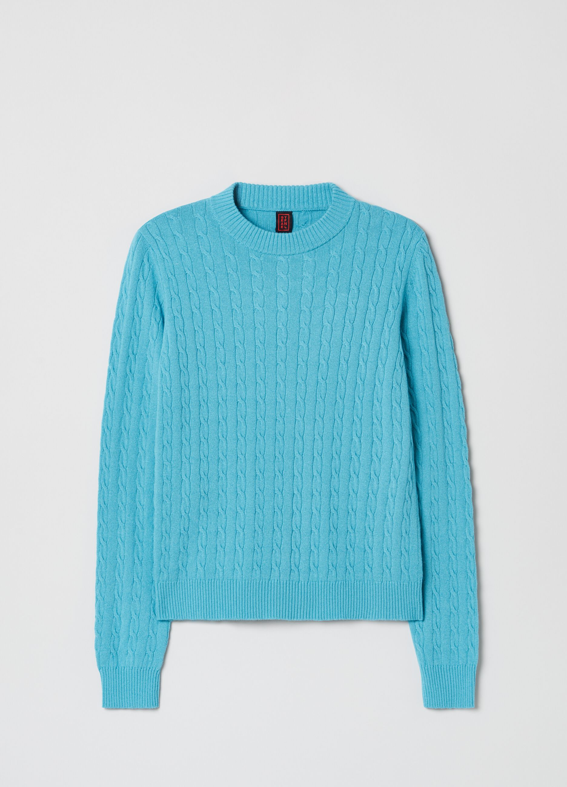 Wool and cashmere pullover with cable design Light Blue