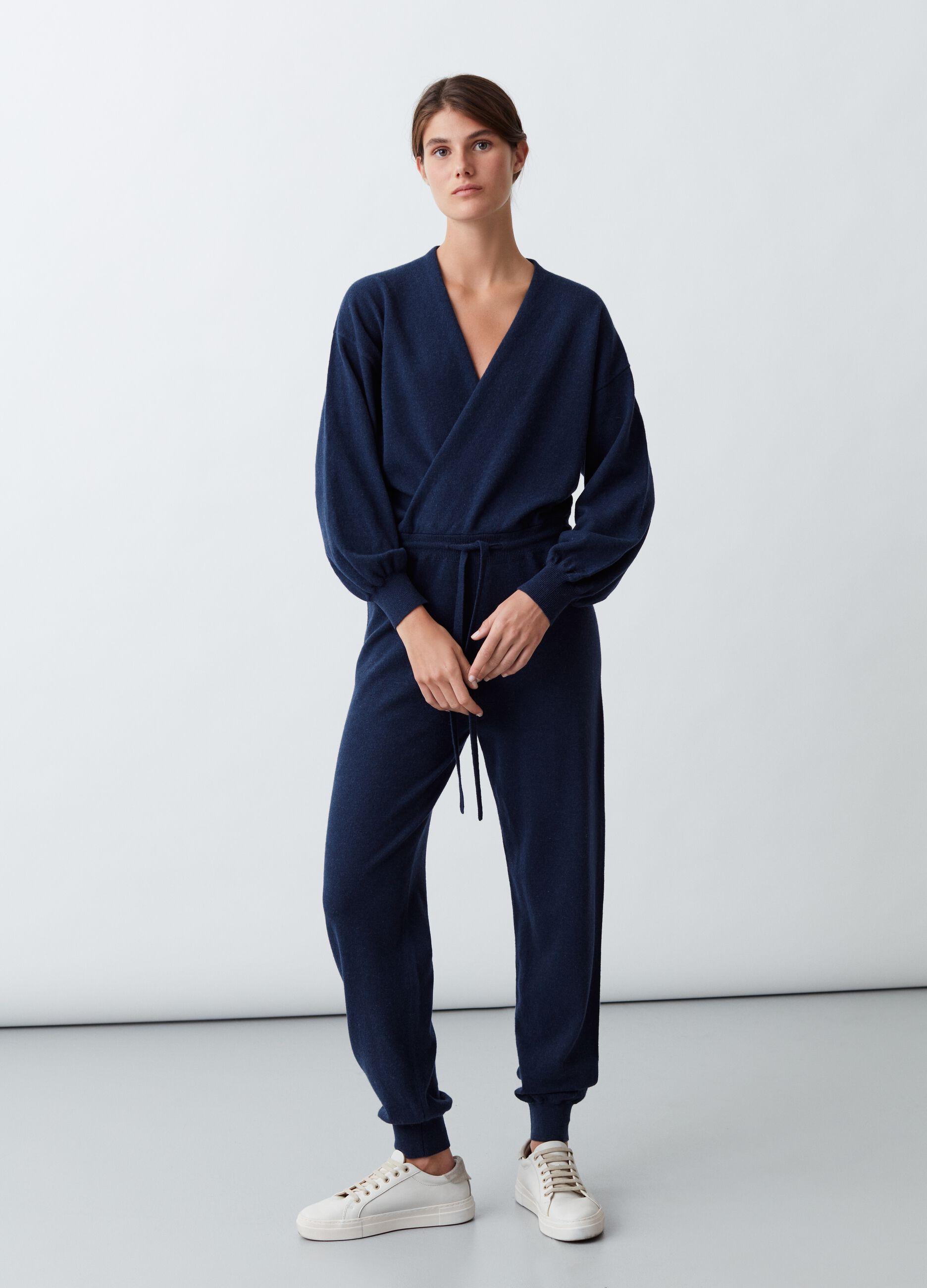 Tuta in maglia di lana e cachemire Blu