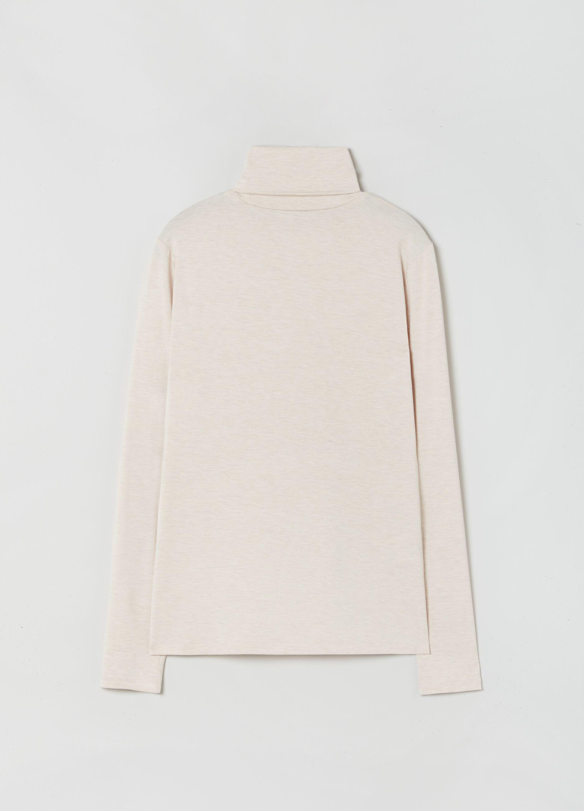T-shirt a collo alto in modal stretch Beige