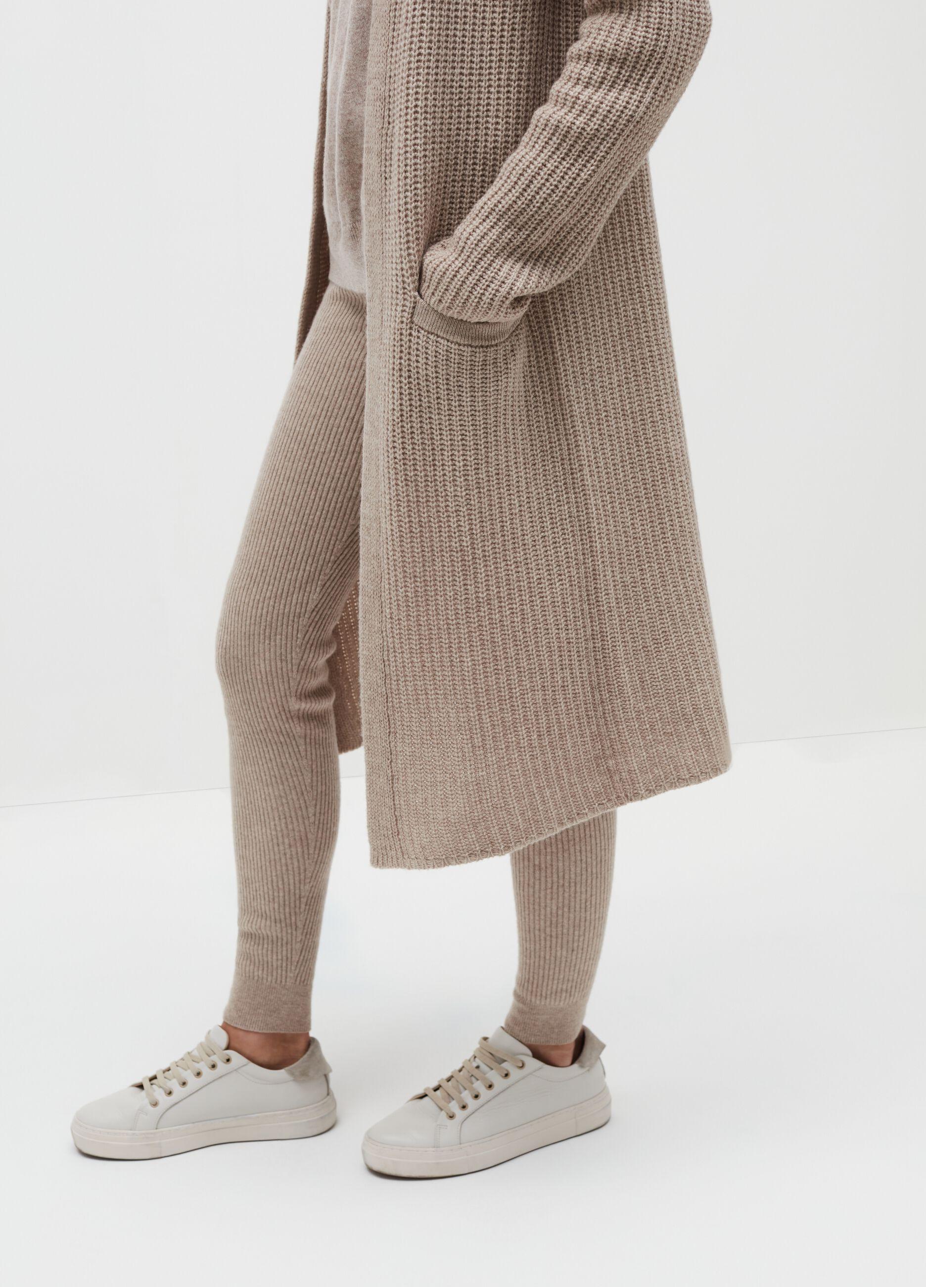 Cardigan extra lungo in lana e cachemire Beige