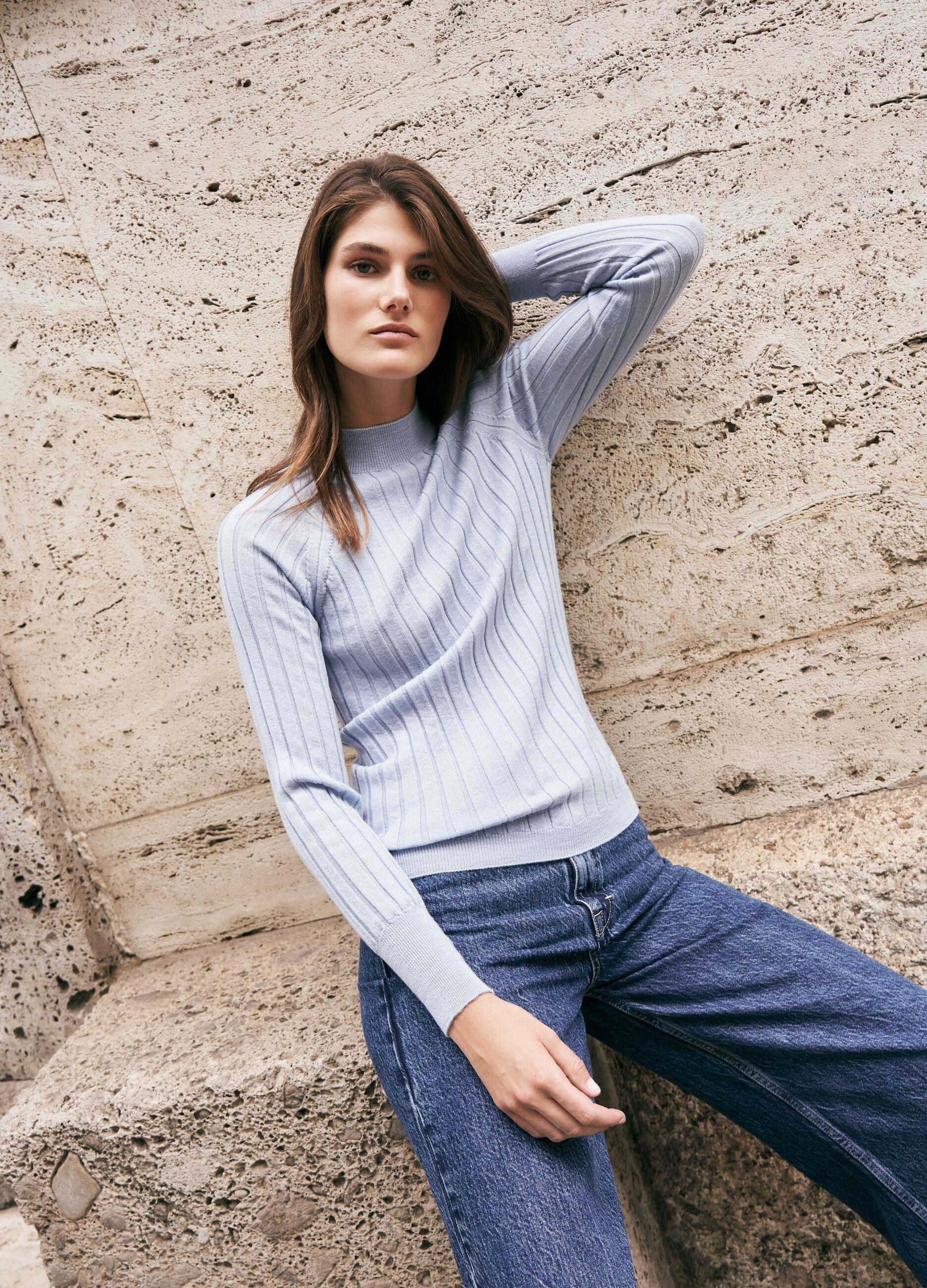 Pullover in lana merinos a coste piatte Azzurro