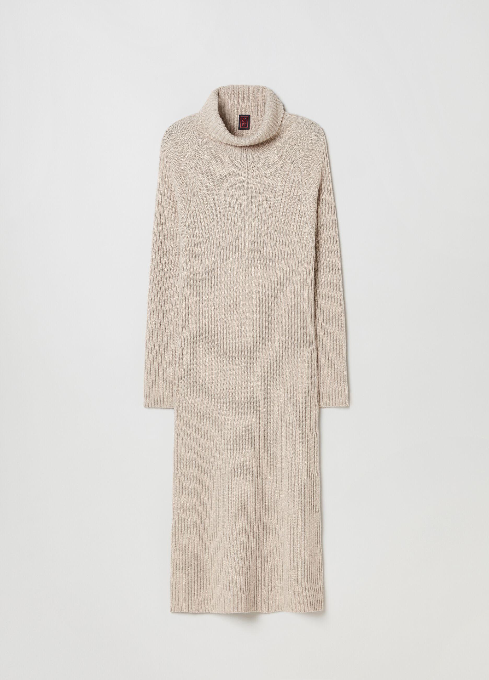 Abito lungo in maglia di lana e cachemire Beige