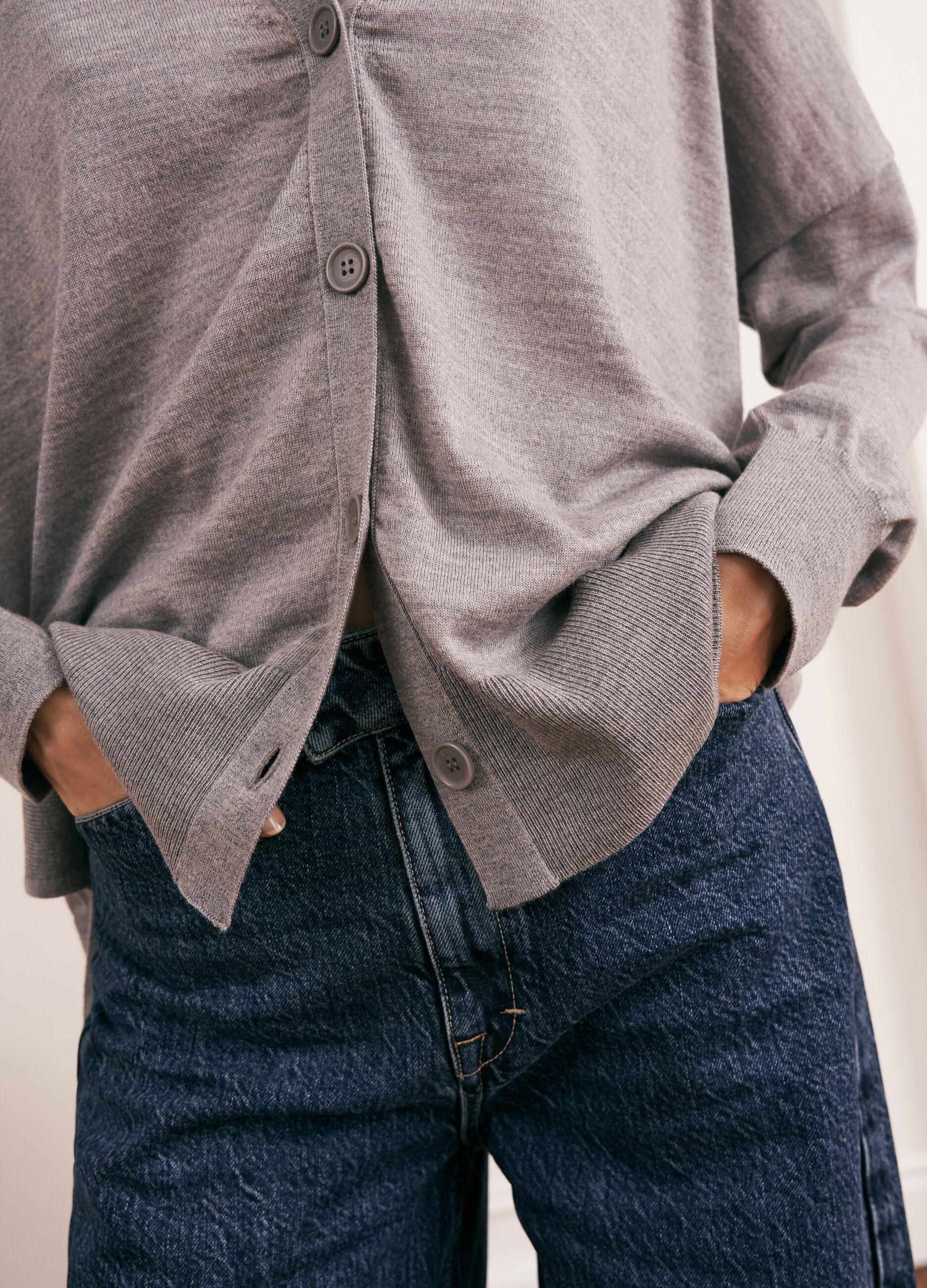Oversized cardigan 100% cashmere wool Grey