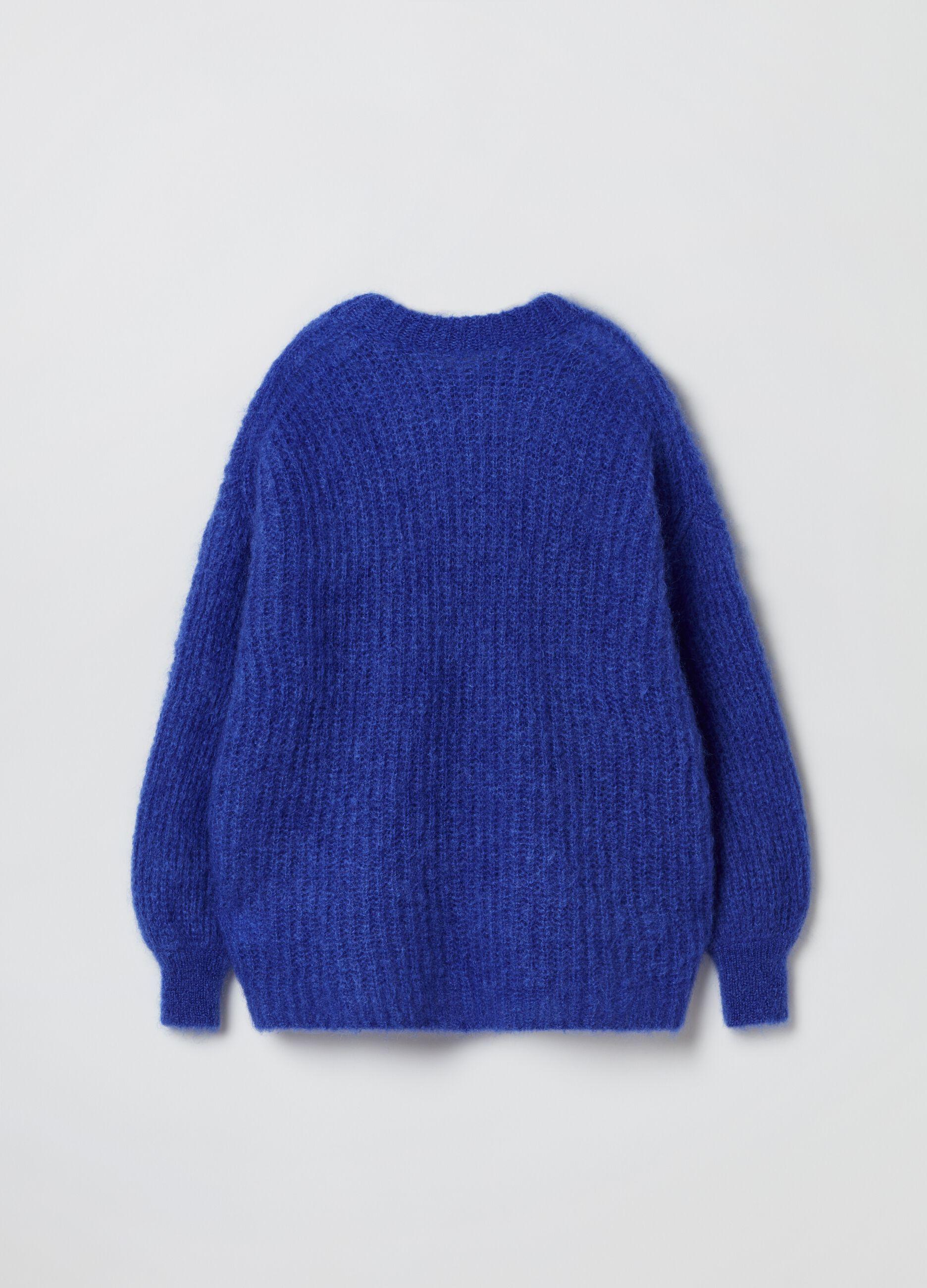 Girocollo oversize in misto mohair Blu