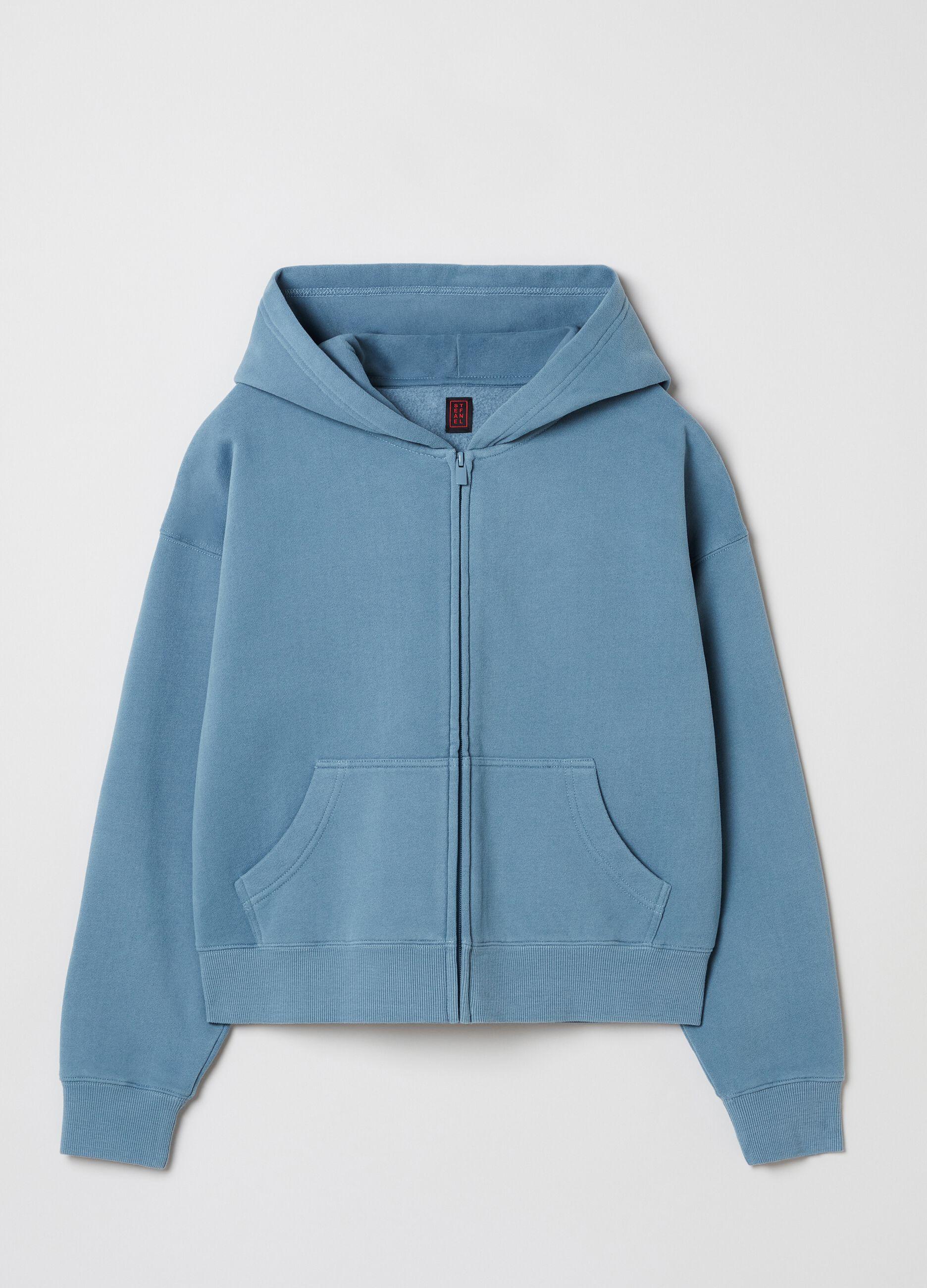 Full-zip con cappuccio tinta in capo Blu