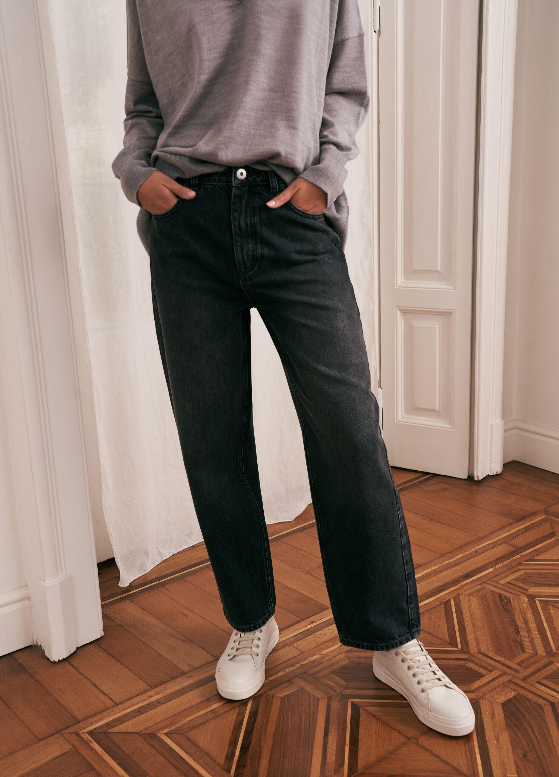 Jeans wide leg in cotone e Lyocell Grigio