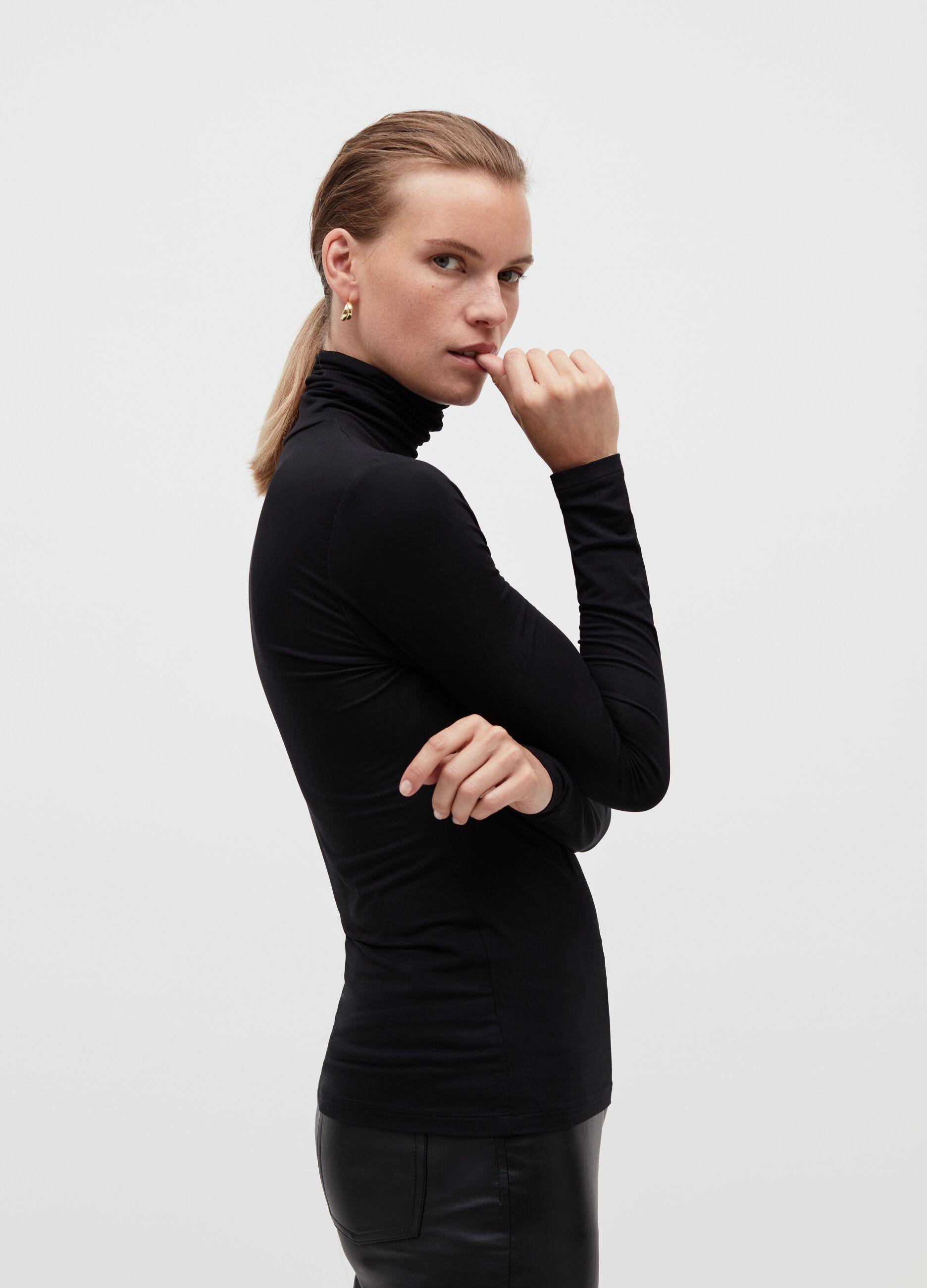 T-shirt collo alto in jersey di modal Nero