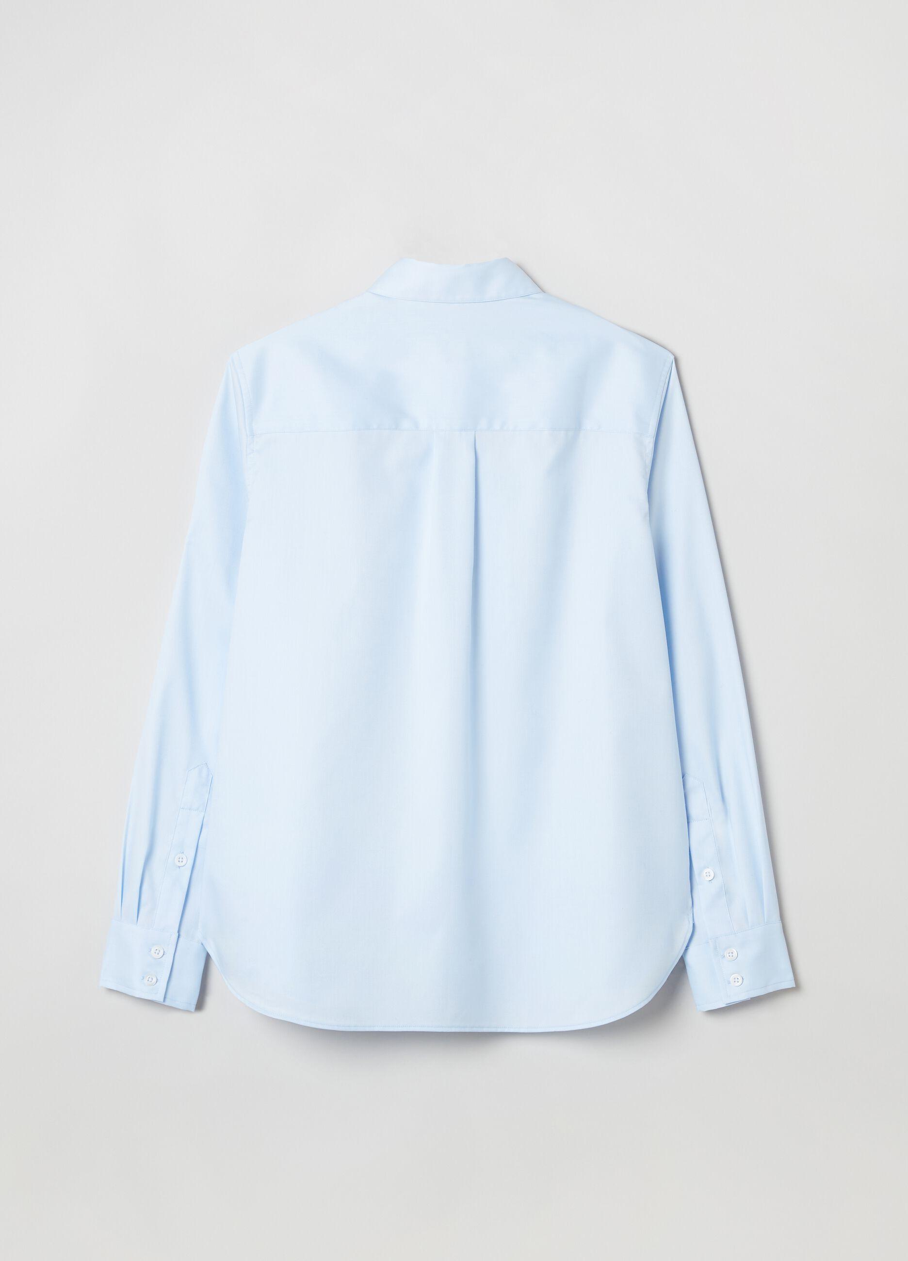 Camicia in popeline di cotone Azzurro